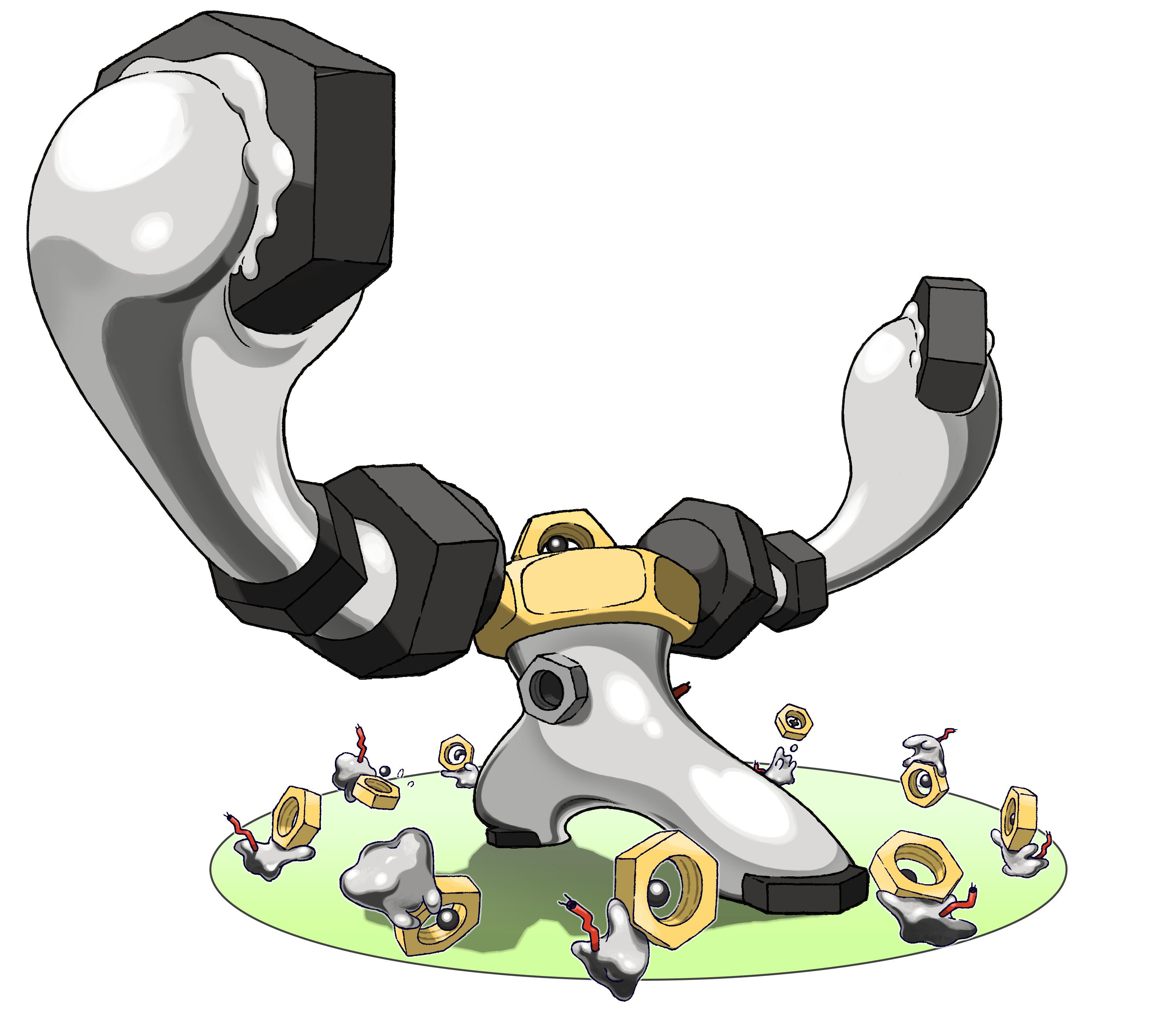 Meltan and Melmetal Render (Pokemon Let's Go).png