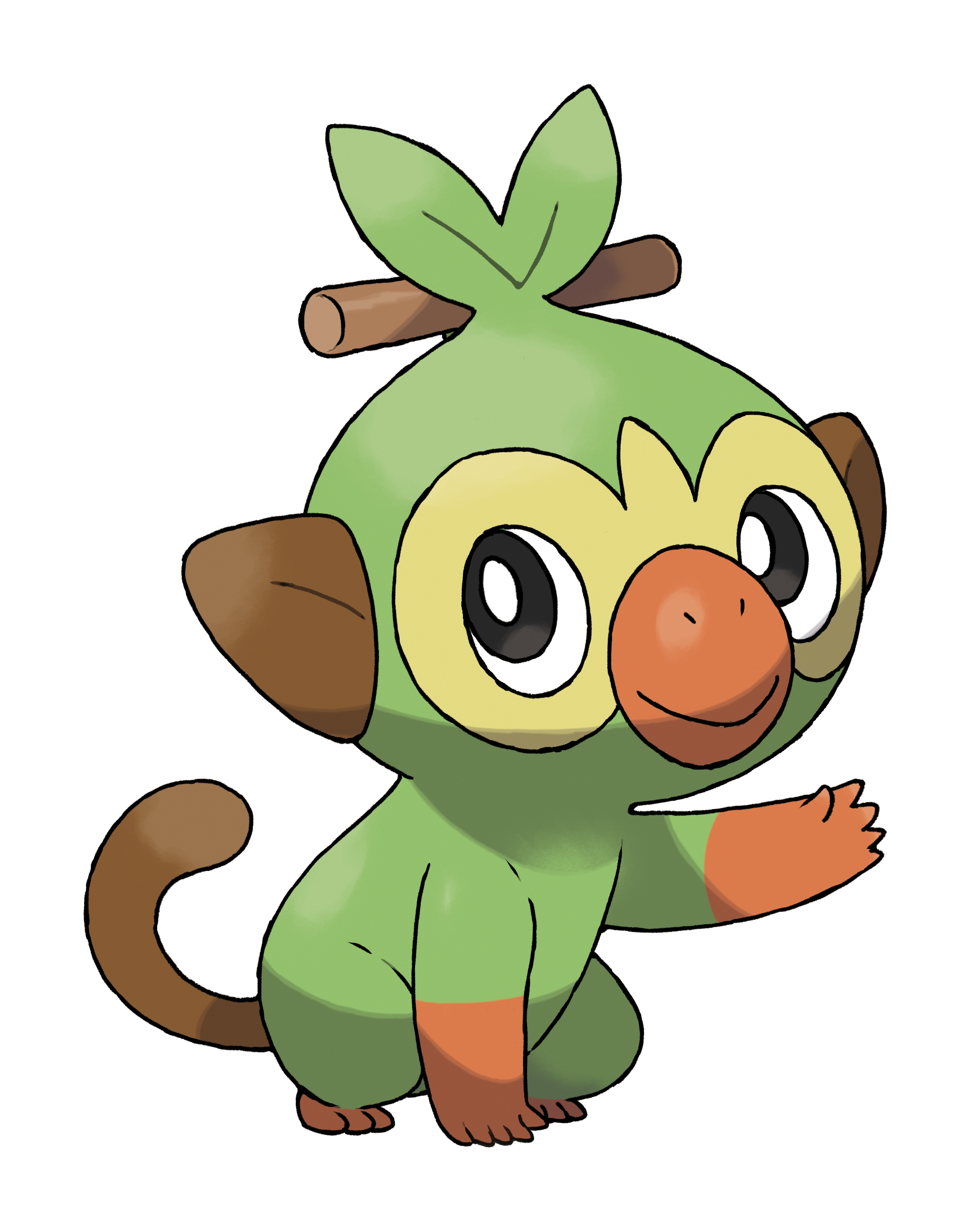 Grookey Waving Render (Pokemon Sword and Shield).png