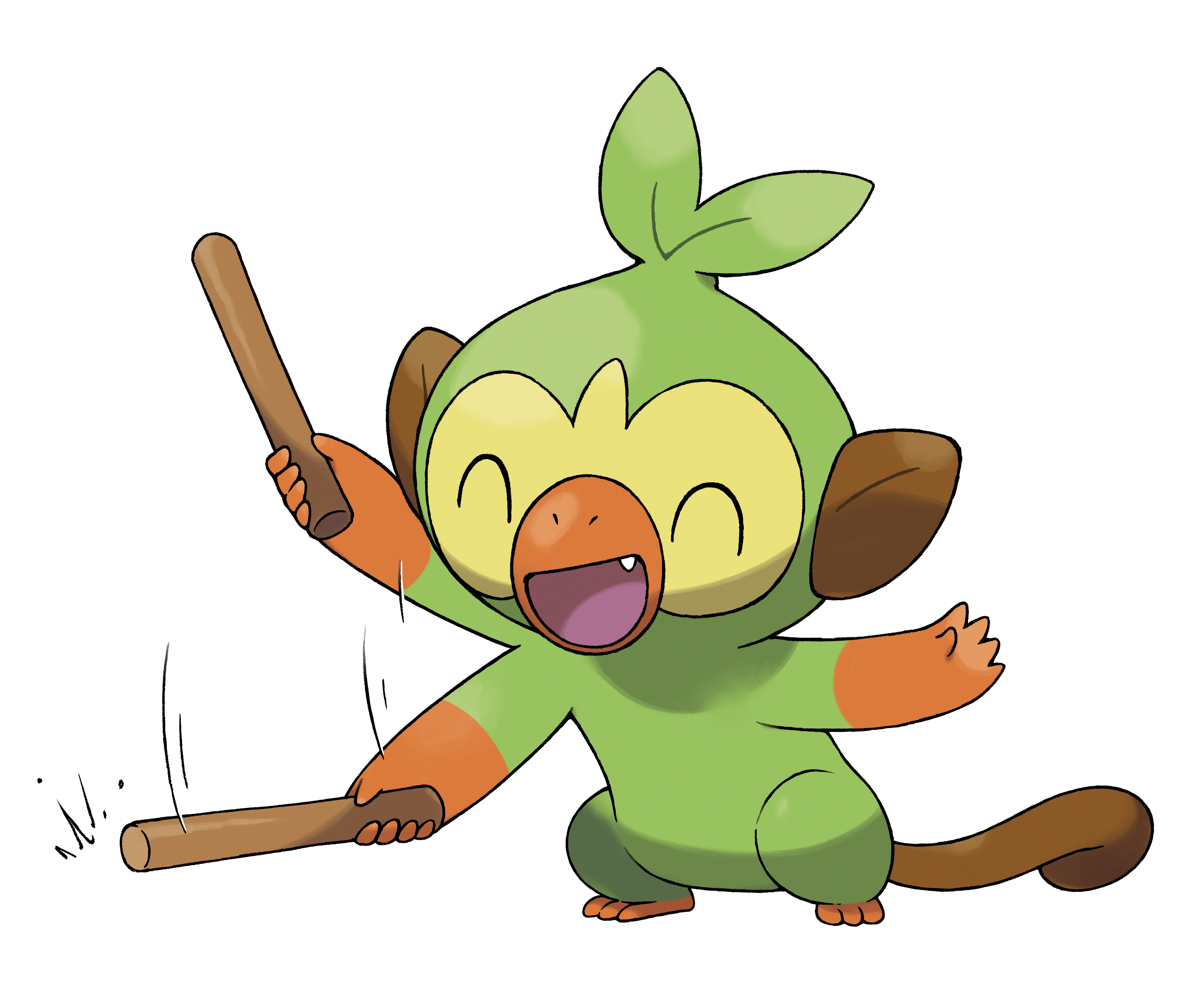 Grookey Plays with a Stick Render (Pokemon Sword and Shield).png