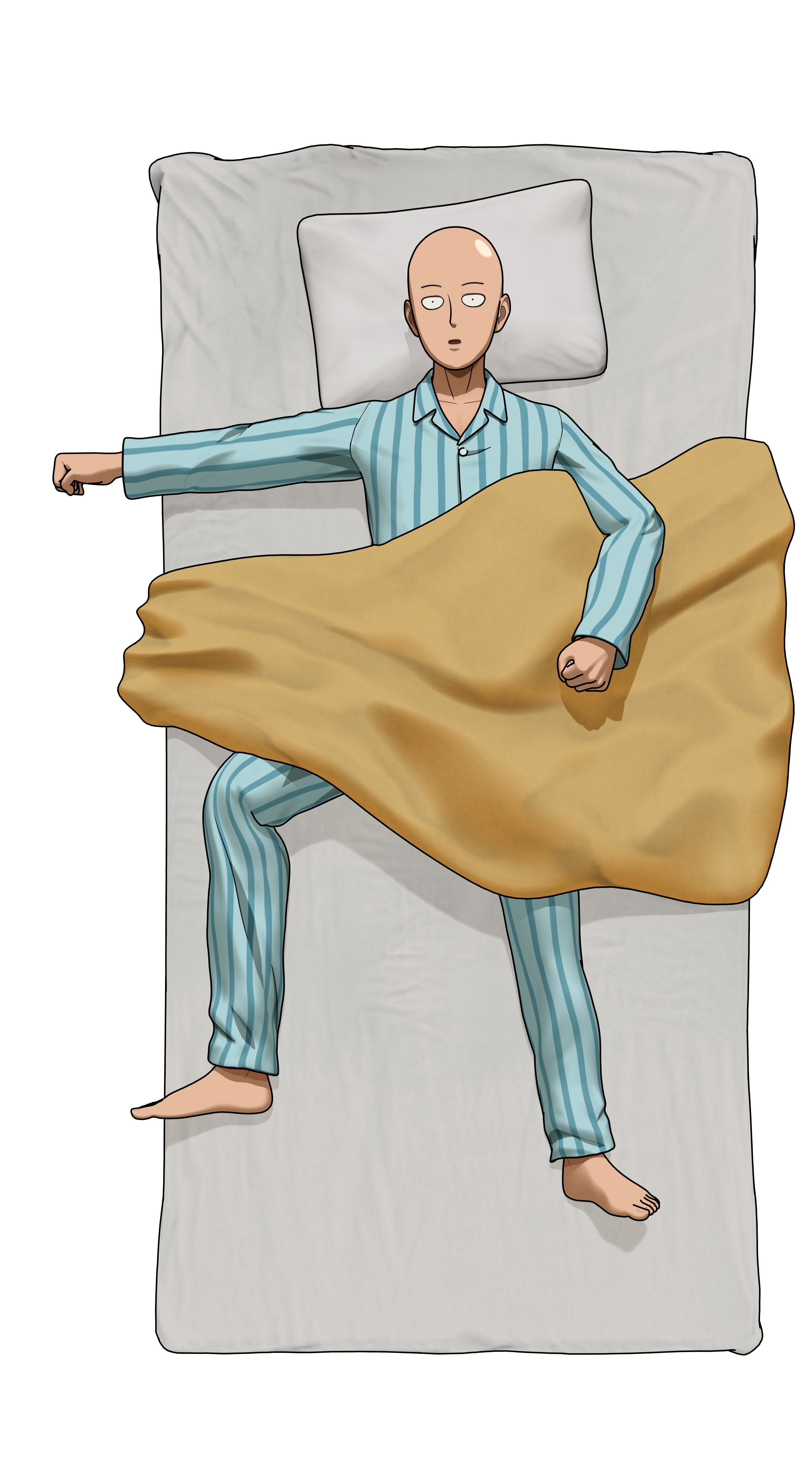 Saitama Lays on Bed Render (One Punch Man A Hero Nobody Knows).png