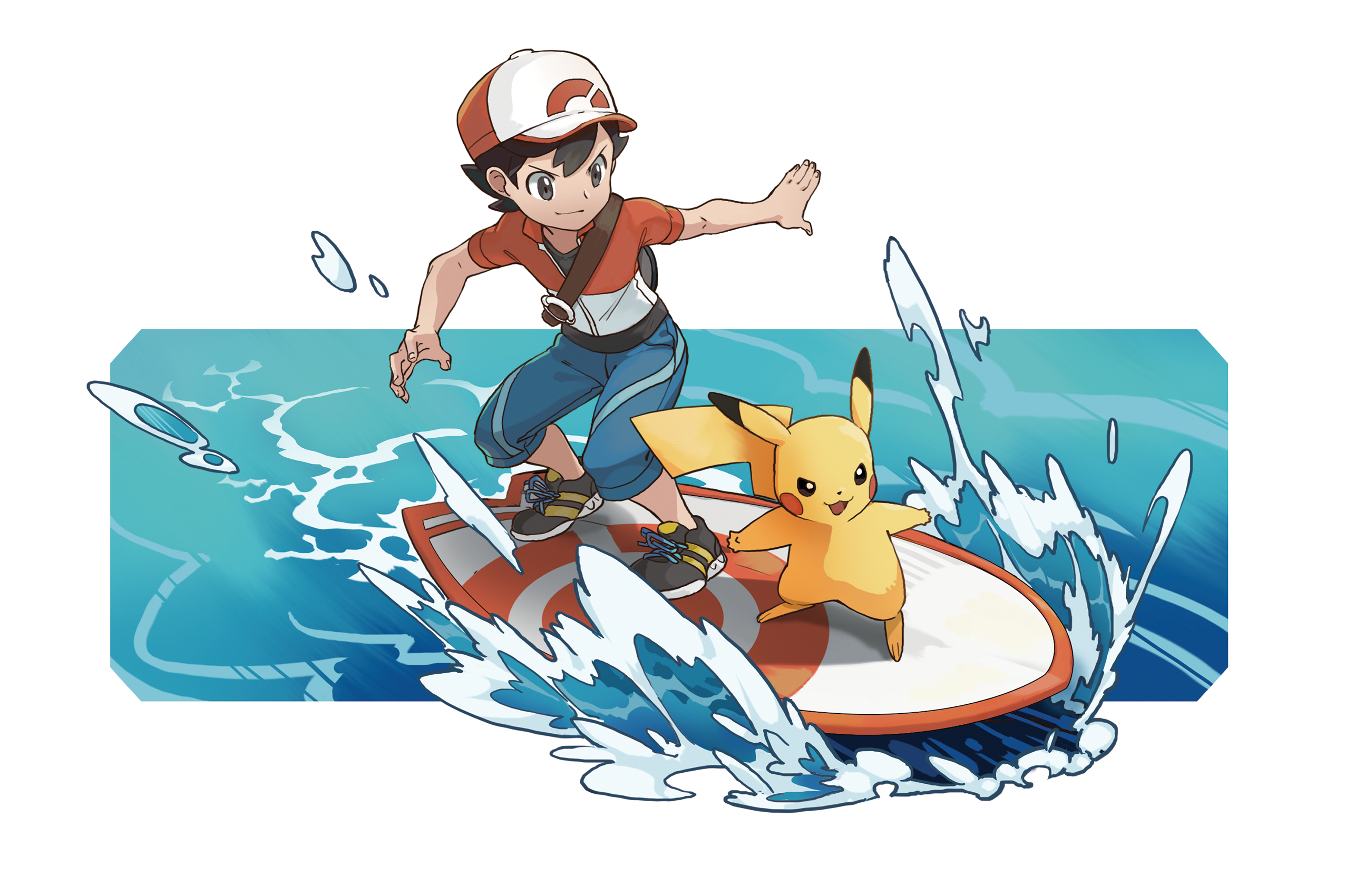 Boy Chase Surfs with Pikachu Render (Pokemon Let's Go).png