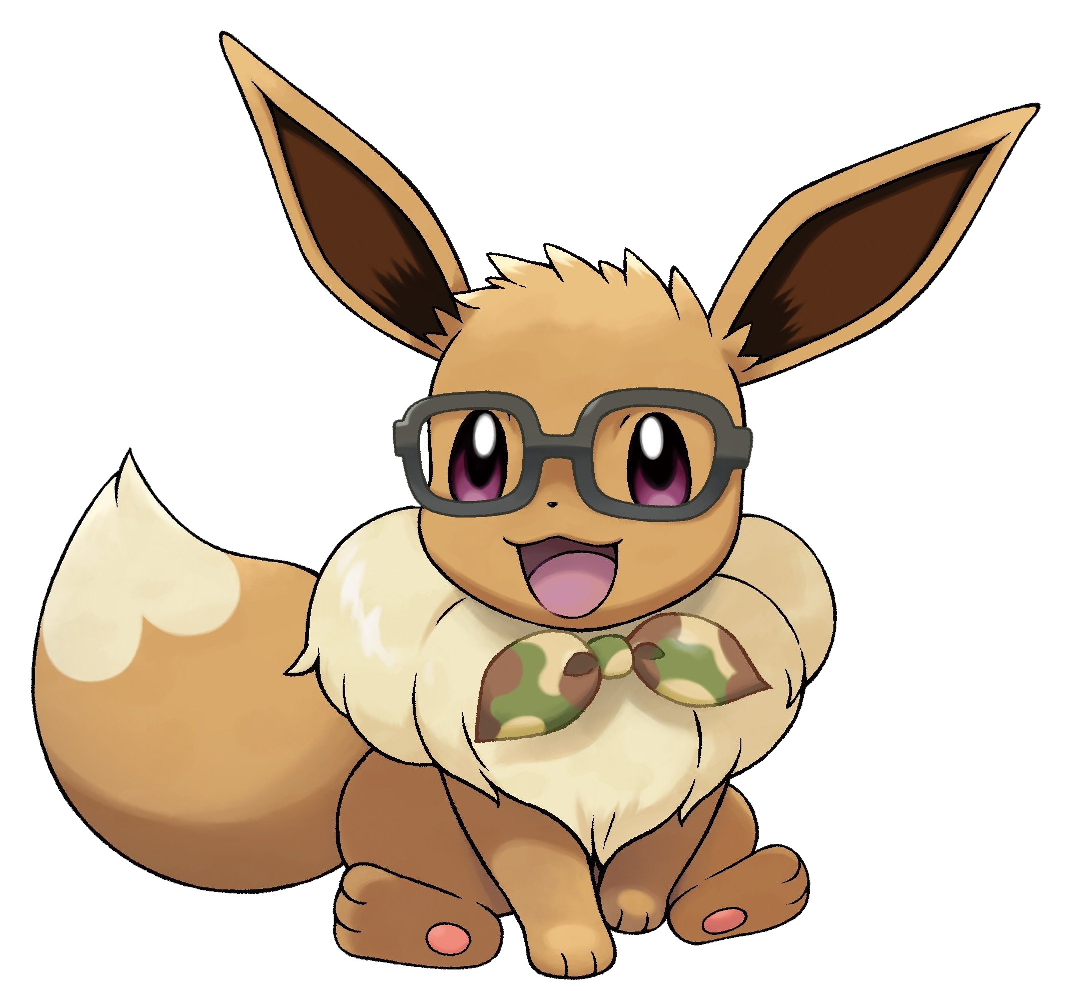 Eevee with Glasses Render (Pokemon Let's Go).png