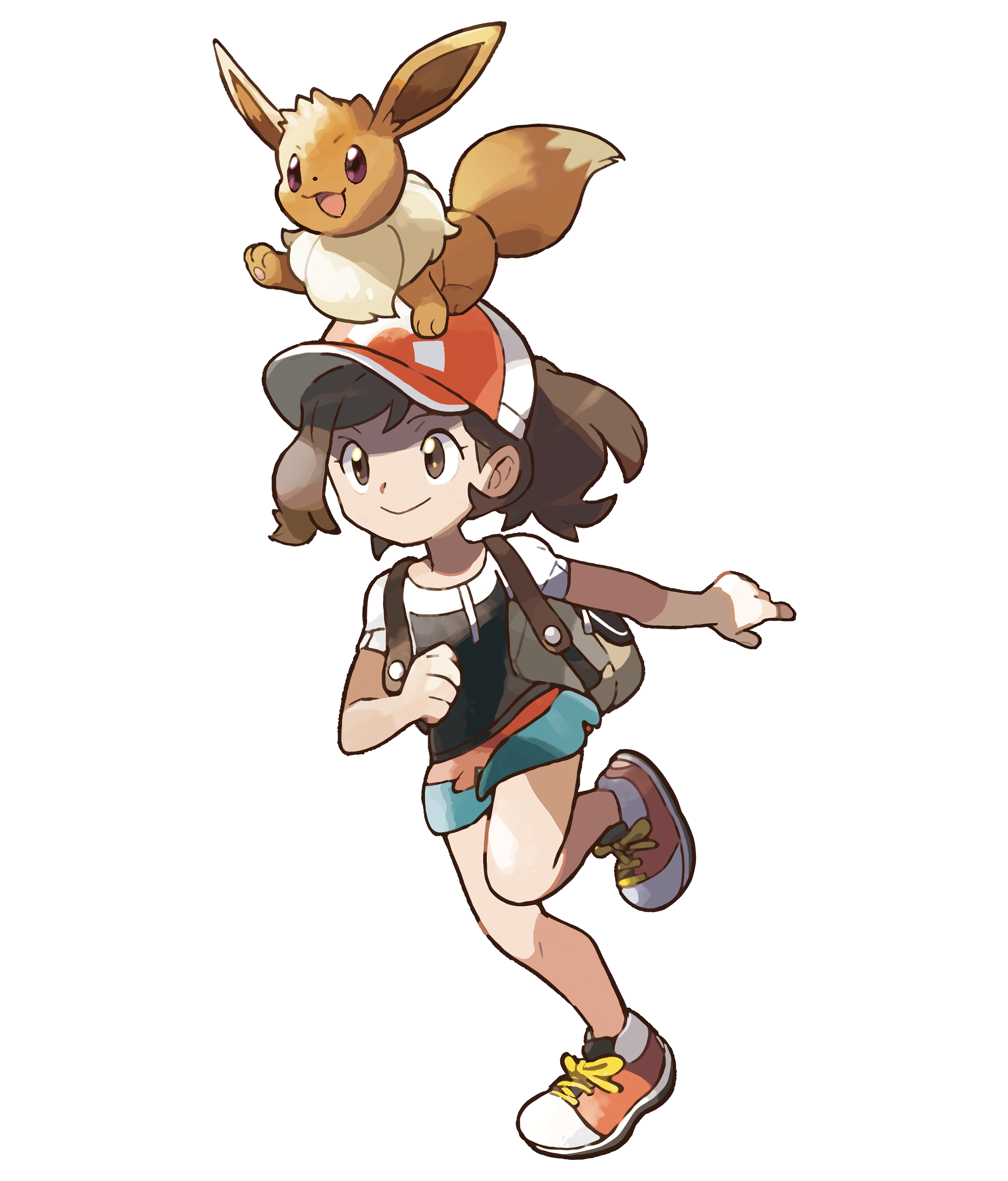 Girl Elaine Runs with Eevee on Head Render (Pokemon Let's Go).png
