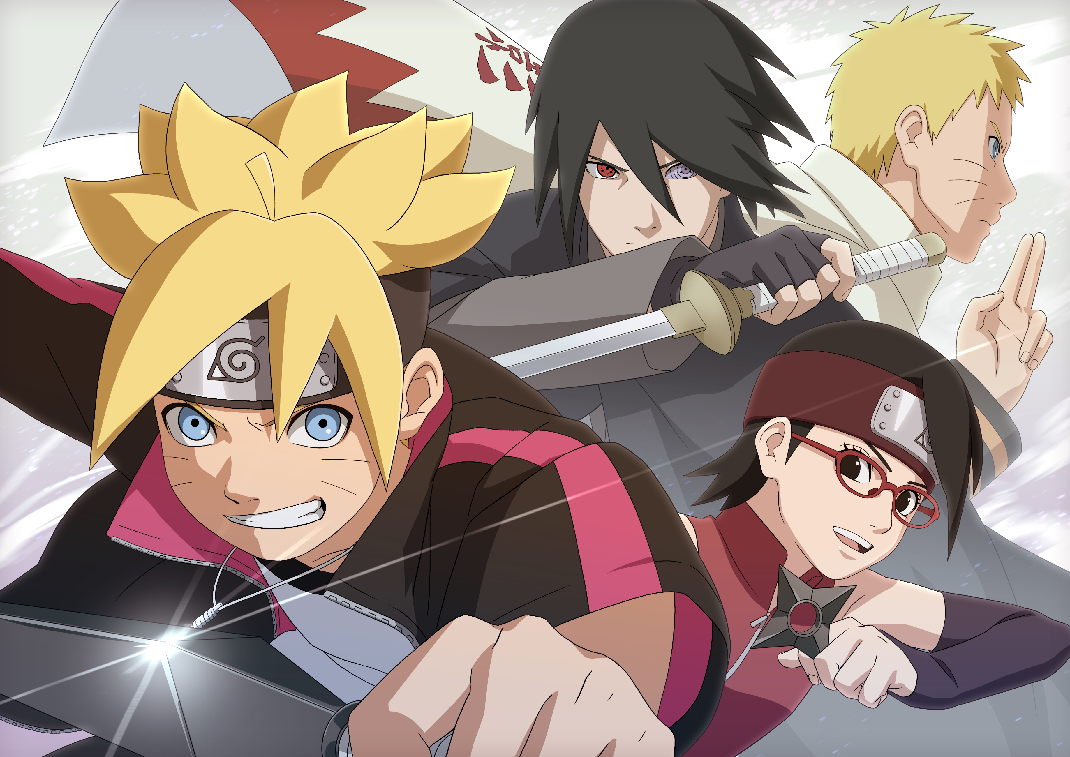 Road to Boruto Art with Boruto, Sarada, Naruto, and Sasuke (Naruto Storm 4)