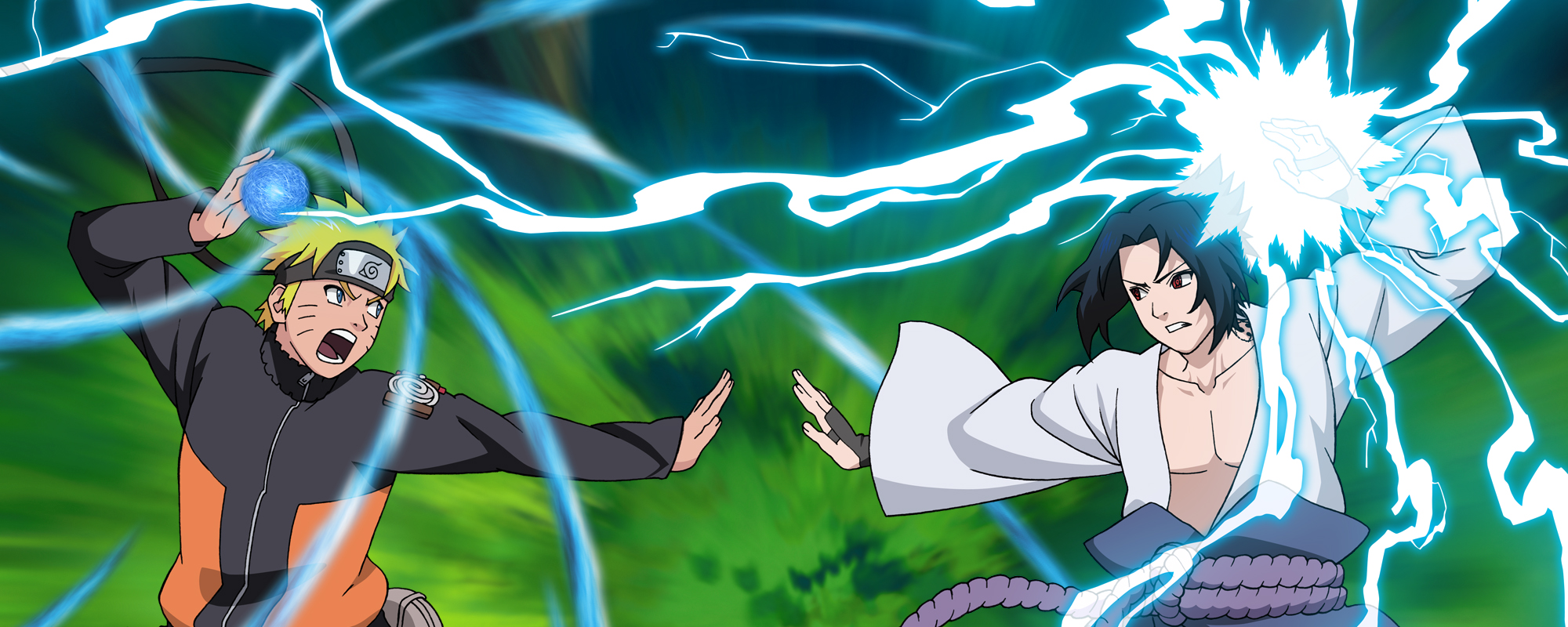 Naruto and Sasuke Stand Off with Rasengan and Chidori
