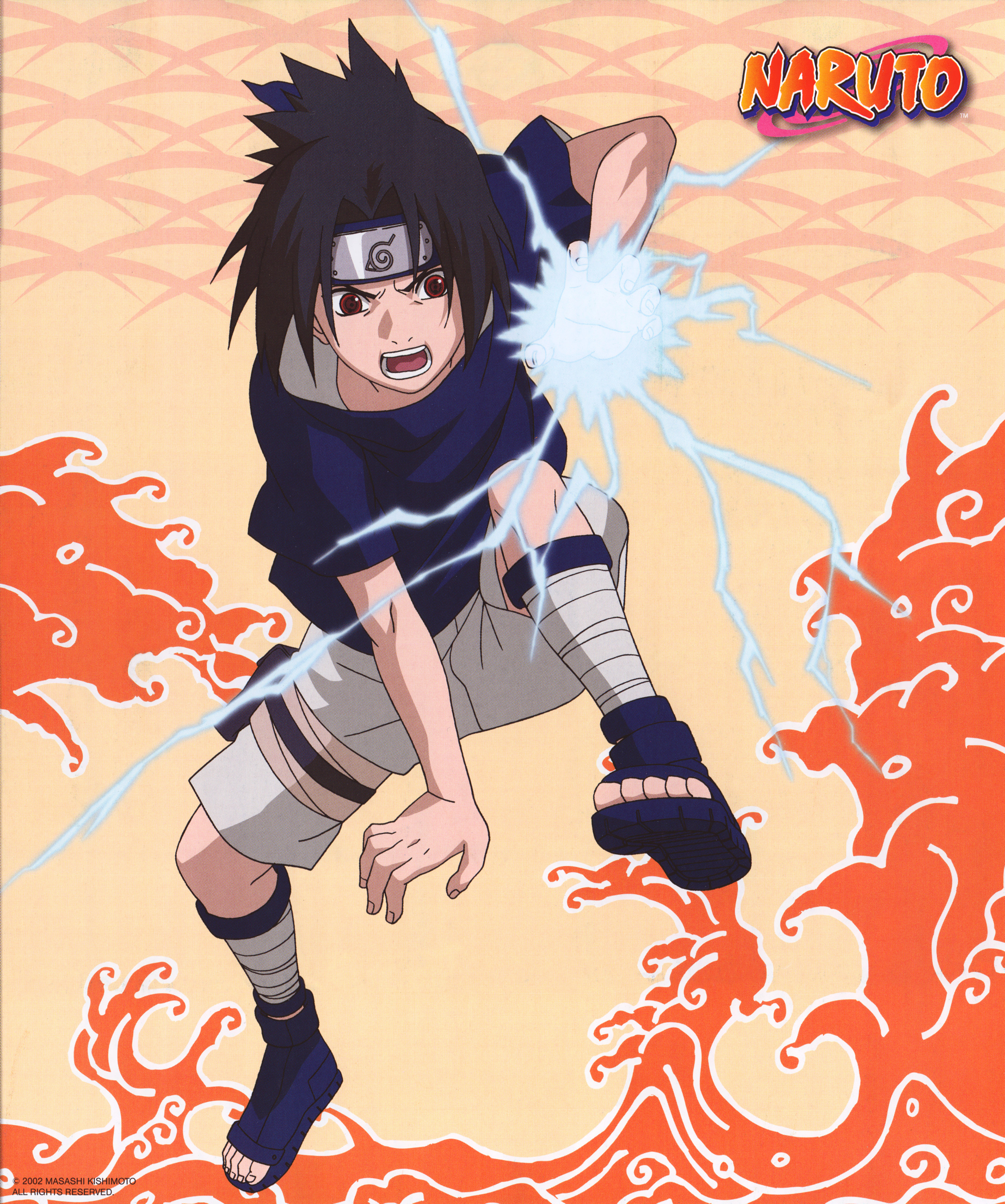 Sasuke Uses Chidori with Red Water in Background