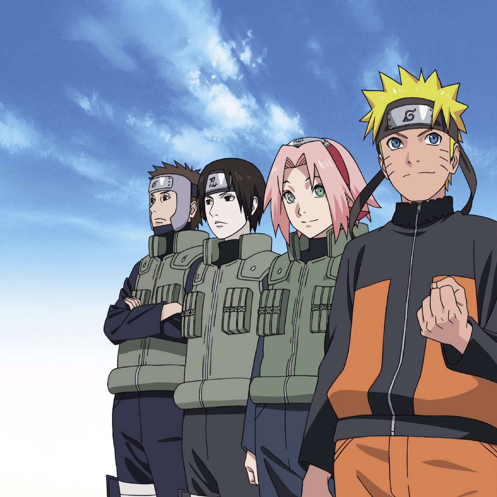 Yamaato, Sai, Sakura, and Naruto Stand In Front of the Sky