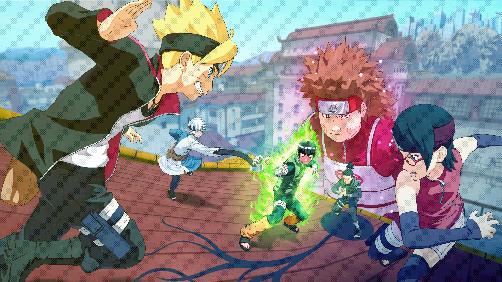Boruto, Mitsuki, Sarada vs Choji, Lee, Shikamaru Loading Screen Art (Naruto to Boruto Shinobi Striker)