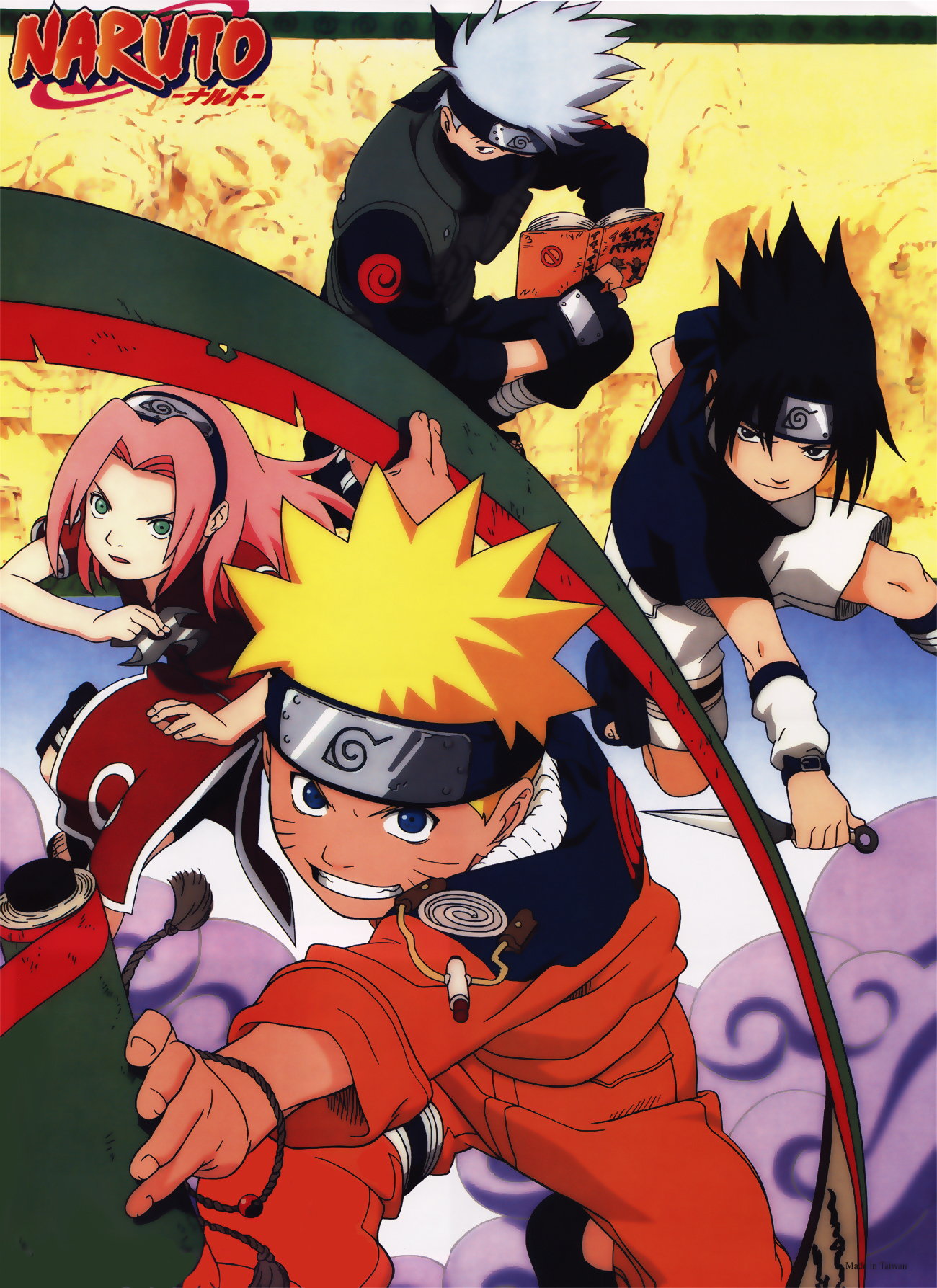 Team 7 Poses with a Ninja Scroll, Ninja Tools, and Icha Icha Paradise