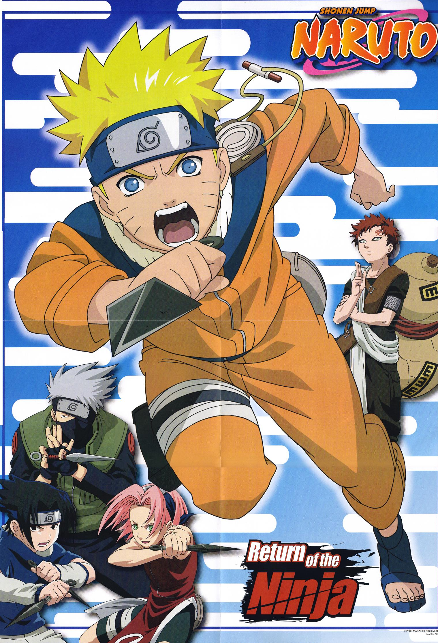 Return of the Ninja Naruto, Sasuke, Sakura, Kakashi, Gaara