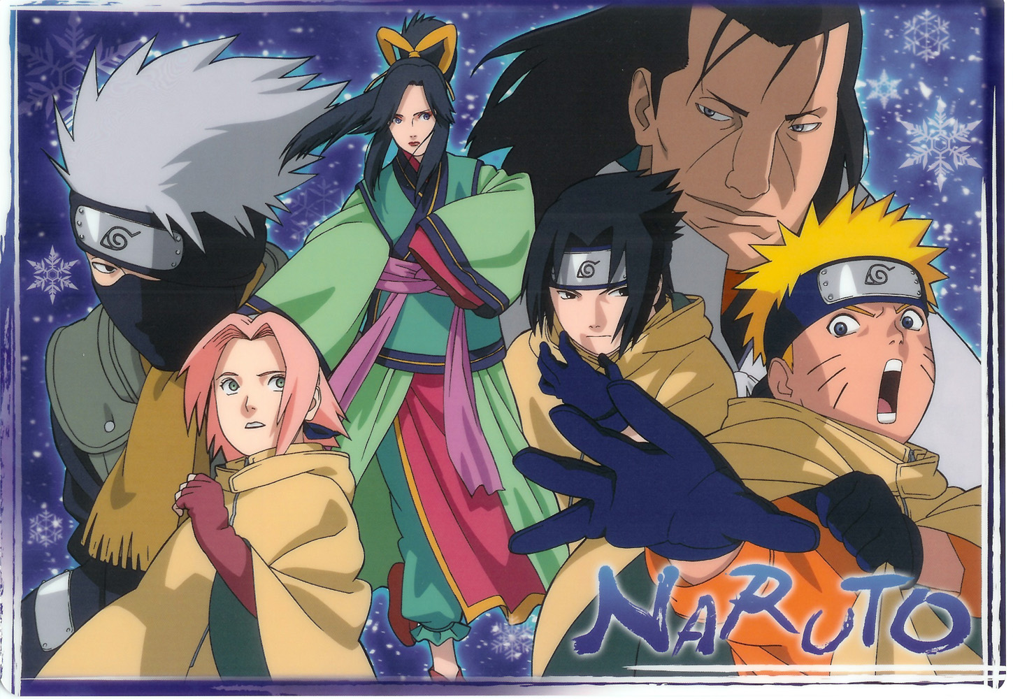 The Princess, Villain, and Team 7 in Naruto the Movie Ninja Clash in the Land of Snow Promo Art