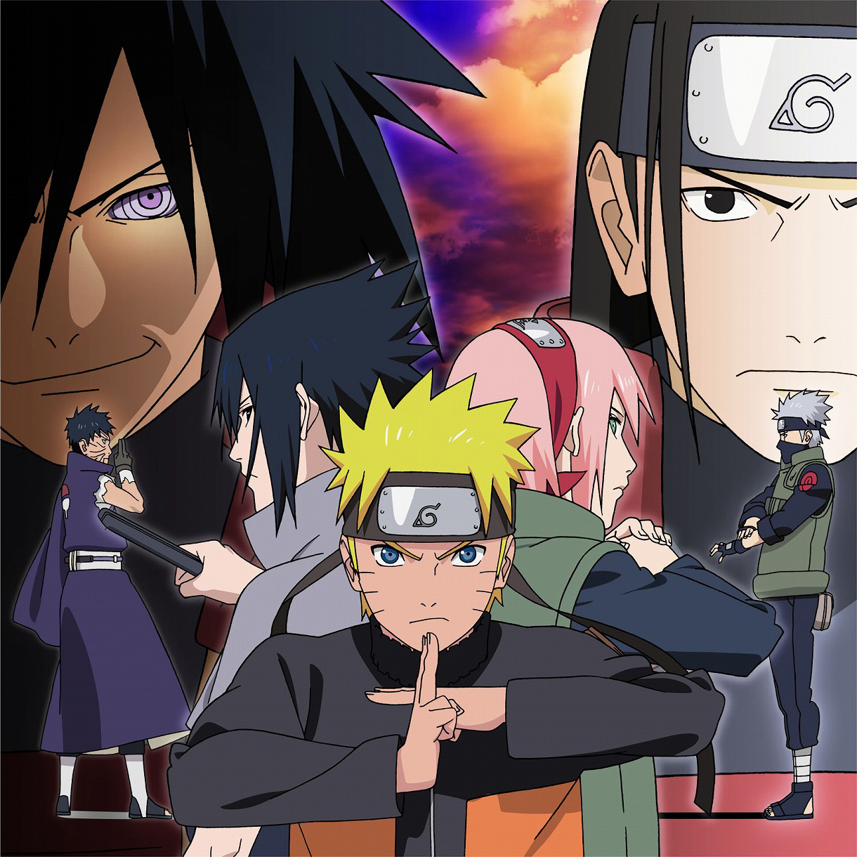 Obito vs Kakashi, Madara vs Hashirama, with Naruto, Sakura, and Sasuke