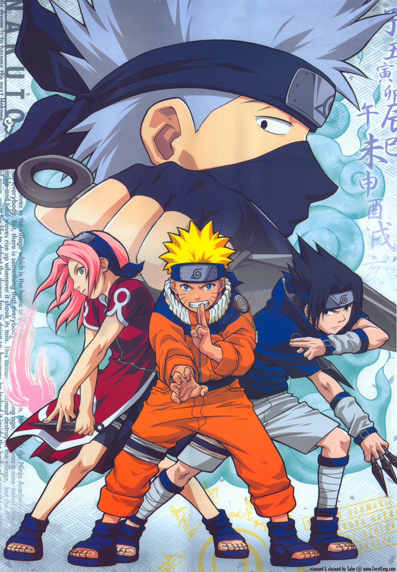Sakura, Naruto, Sasuke Pose with Kakashi in Background.jpg