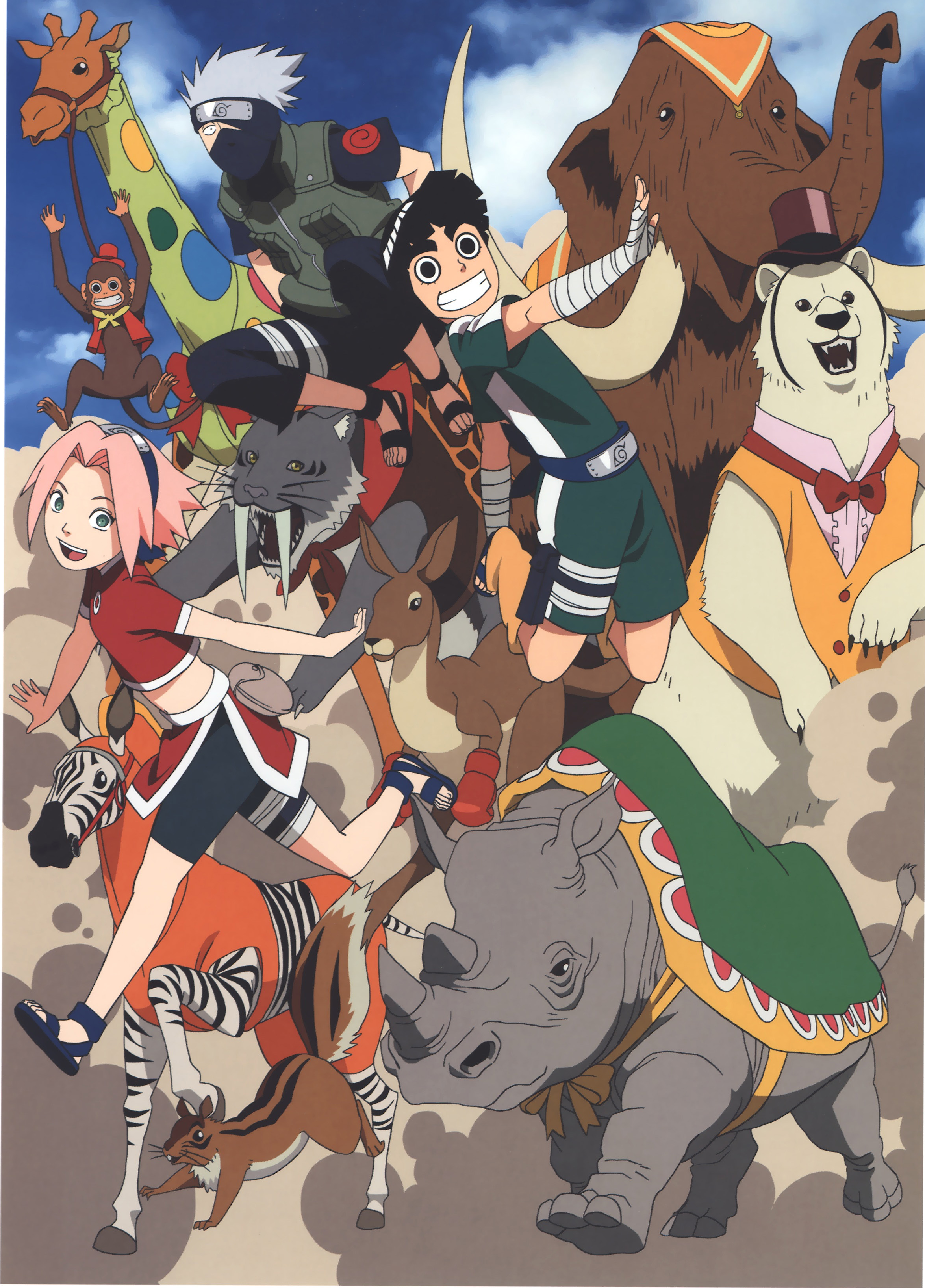 Naruto the Movie 3 Guardians of the Crescent Moon Kingdom Art with Leaf Ninja and Animals