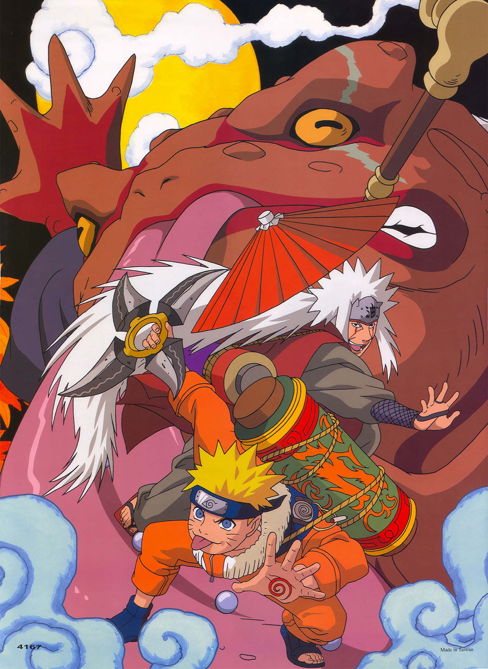 Naruto, Jiraya, and Gamabunta