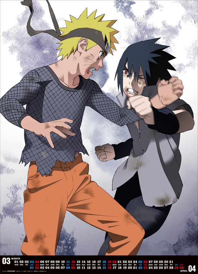 Naruto and Sasuke from the Final Battle - Boruto 2017 Calendar 03-04