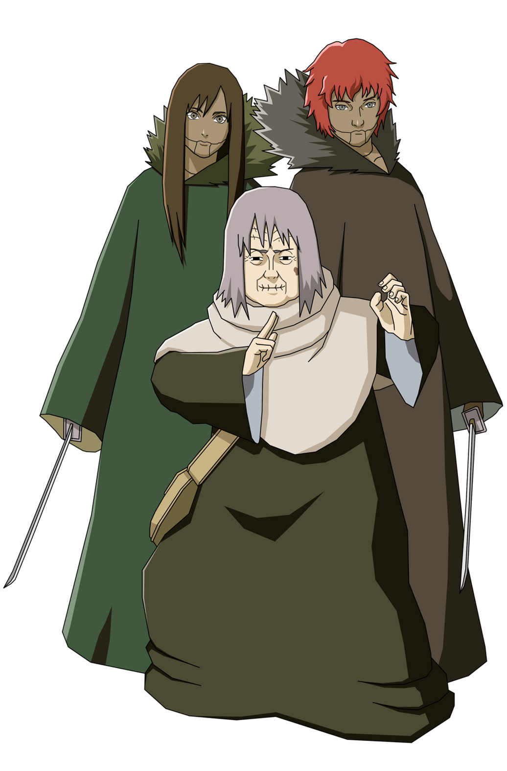 Chiyo with Mother and Father Puppets Render (Naruto Shippuden Ultimate Ninja Storm 2)