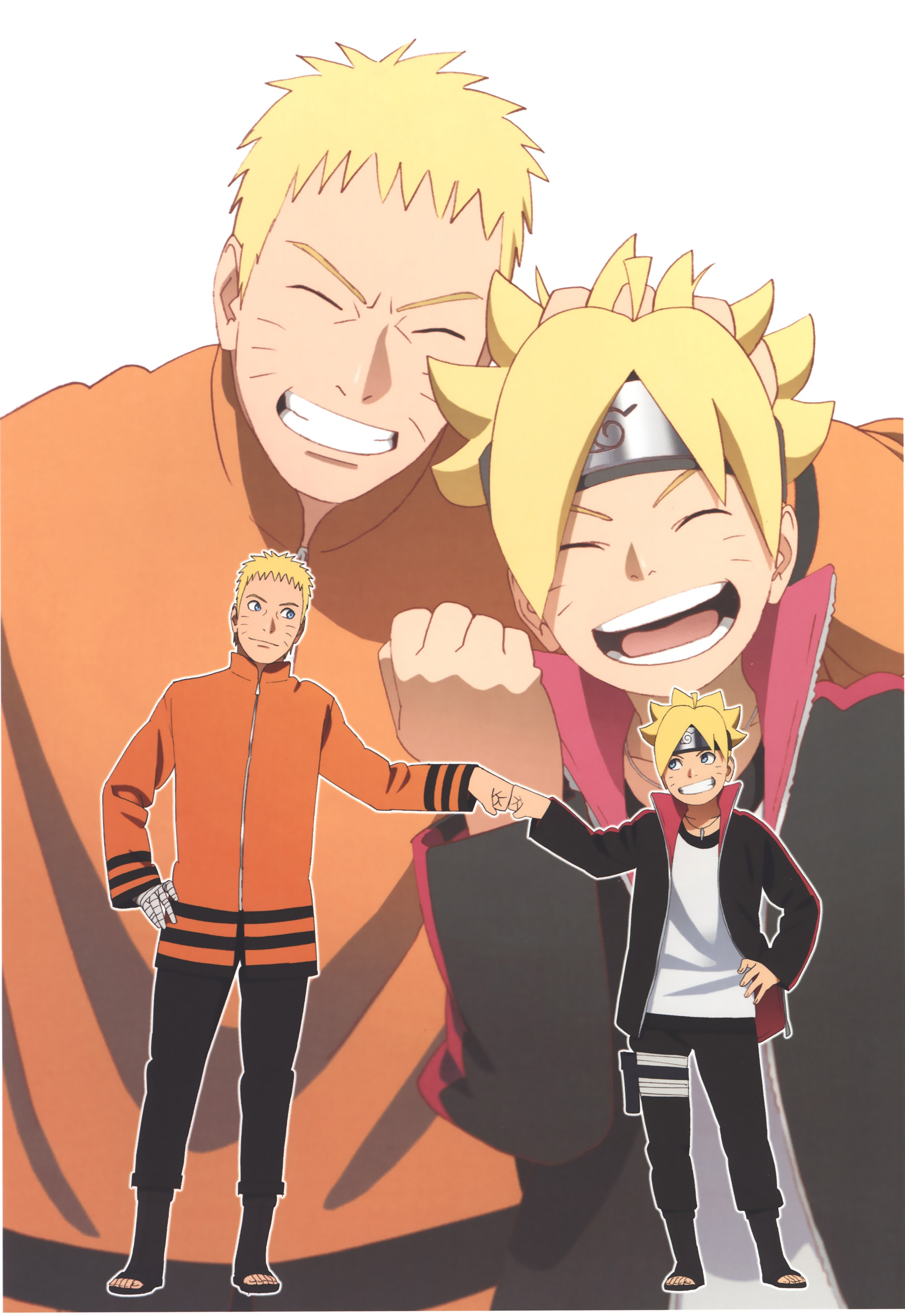 Father and Son Naruto and Boruto Bump Fists