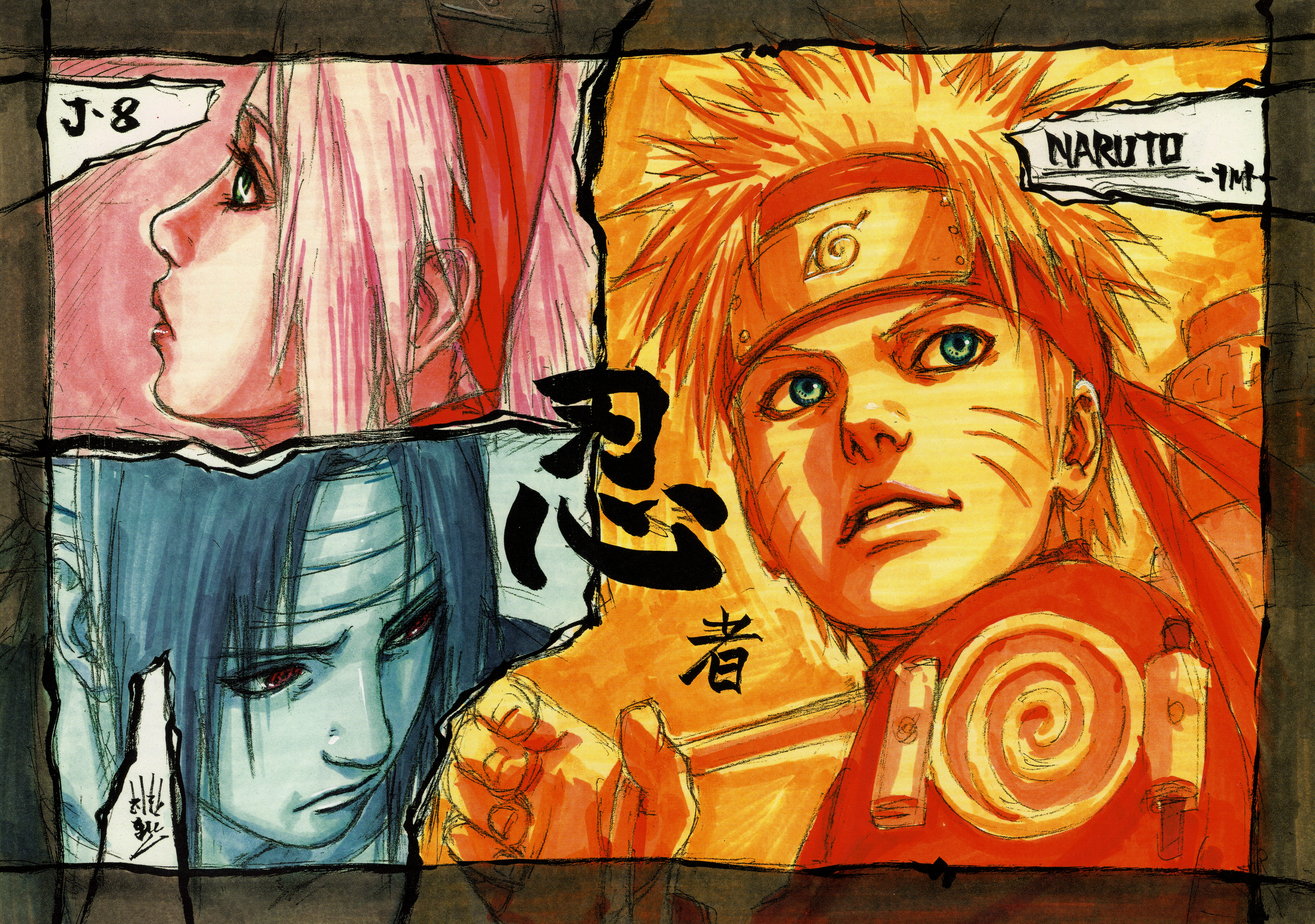 Naruto, Sakura, Sasuke in Orange, Pink, Blue