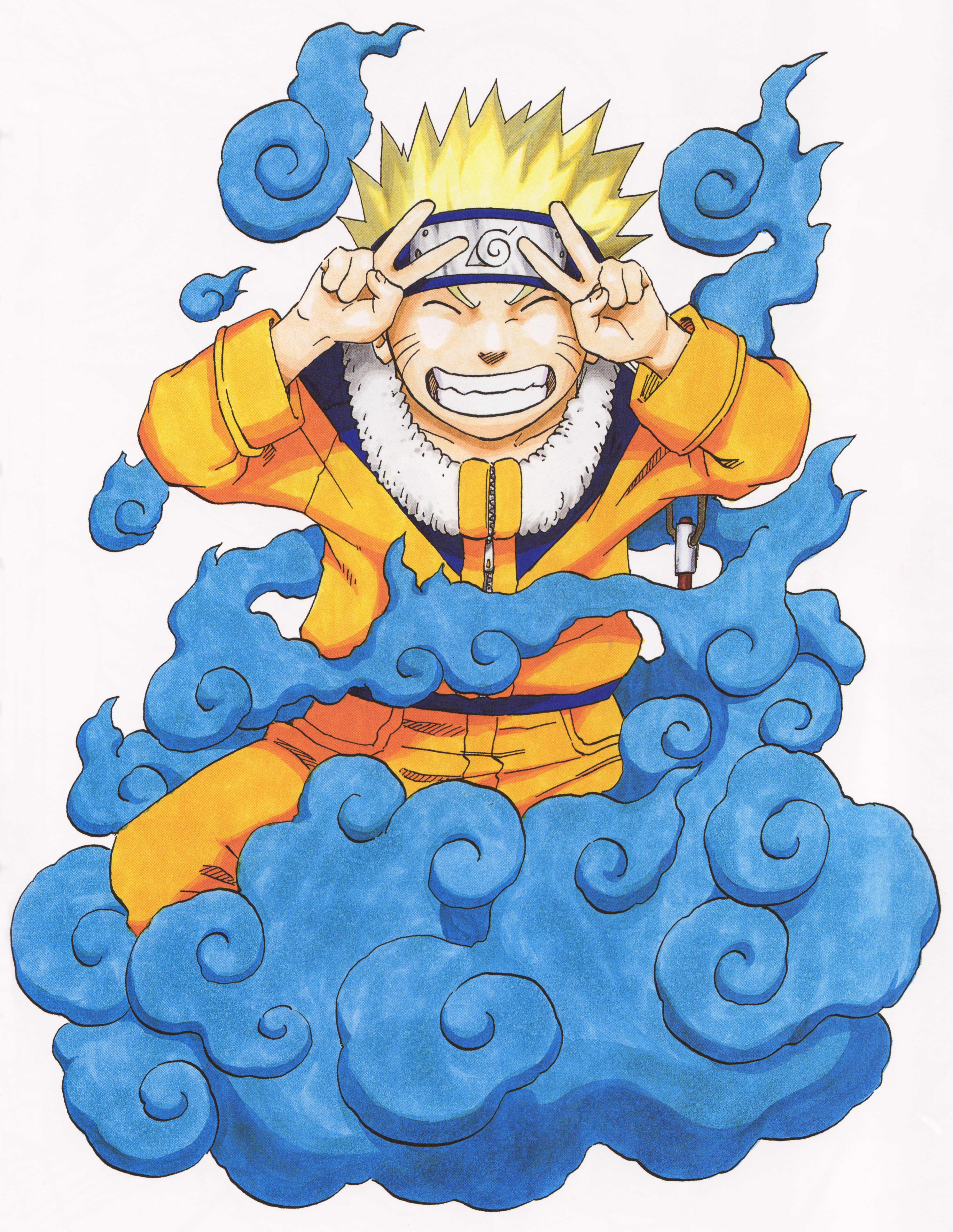 Naruto Happy in a Cloud of Blue Smoke