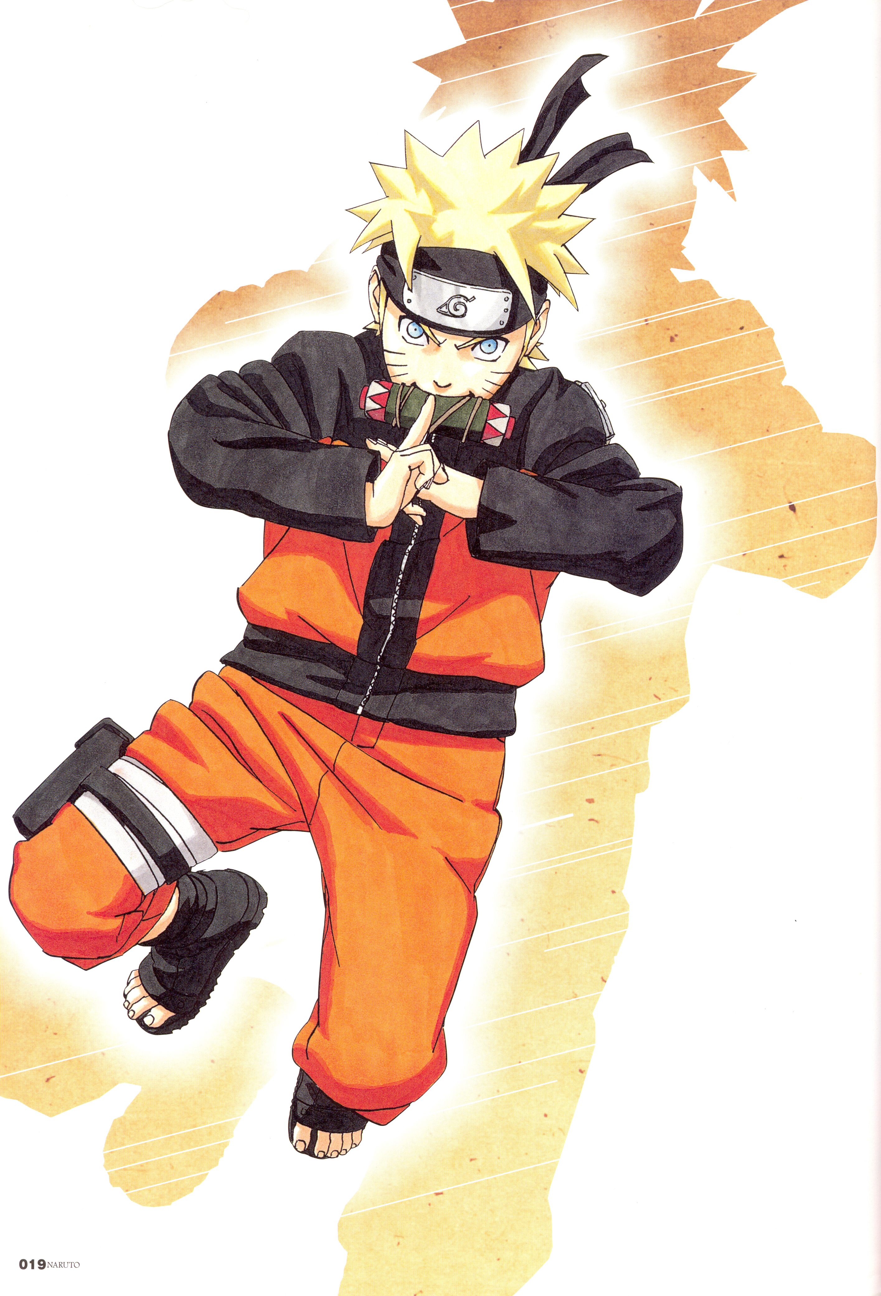 Naruto Scroll in Mouth, Gets Ready to Activate a Jutsu