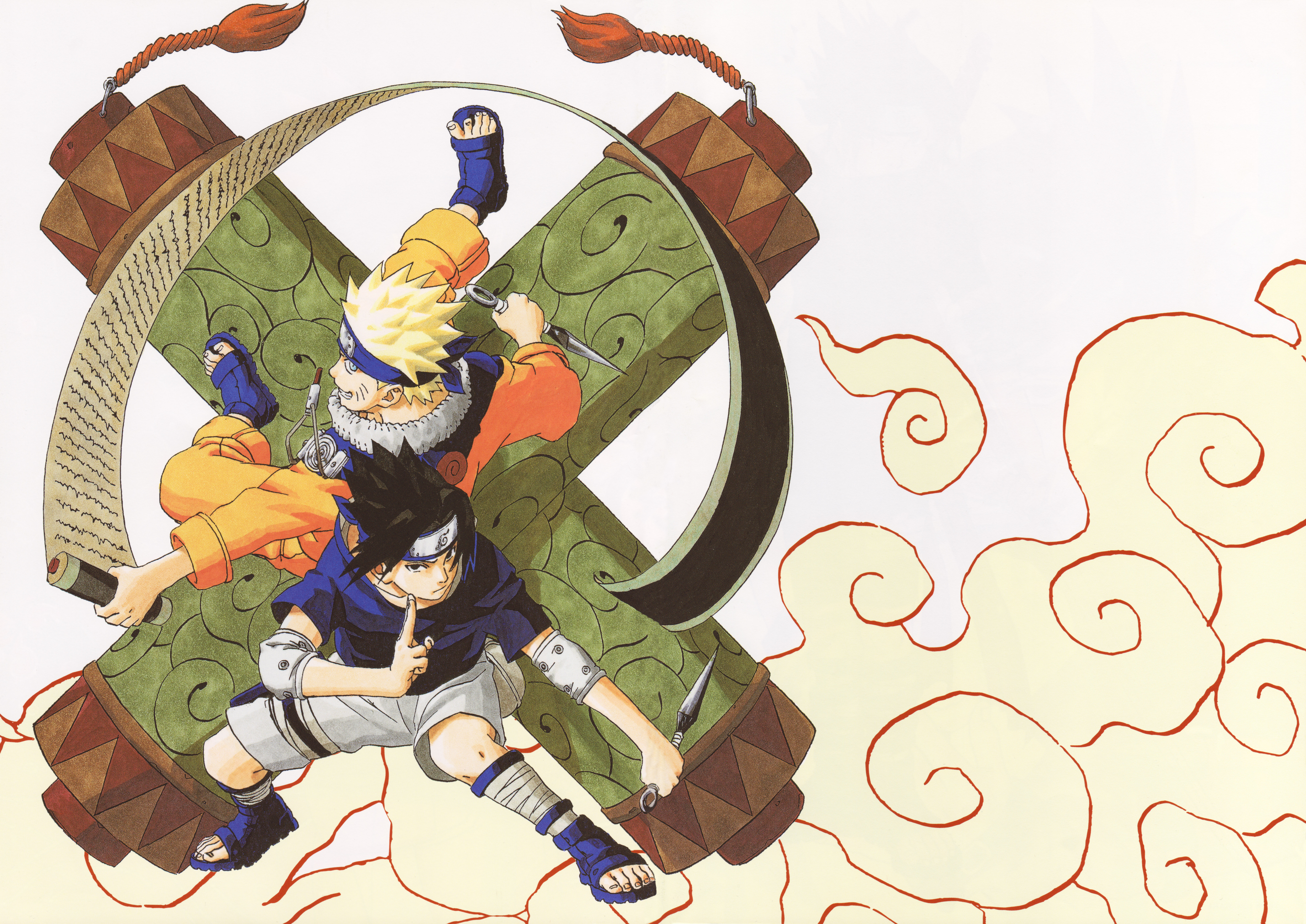 Naruto and Sasuke Strike a Pose with Giant Scrolls