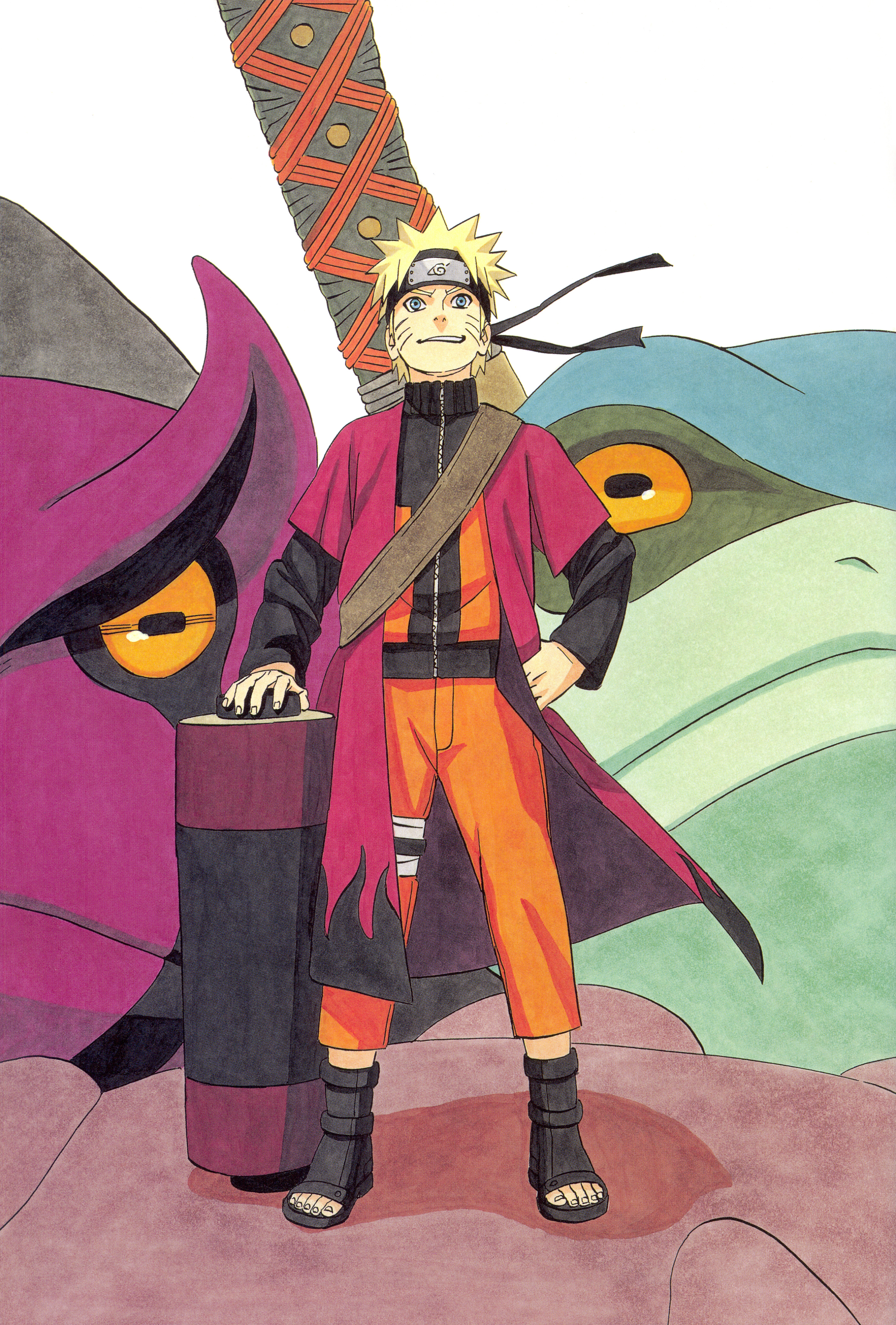 Sage Naruto with Toads Gamaken and Gamahiro
