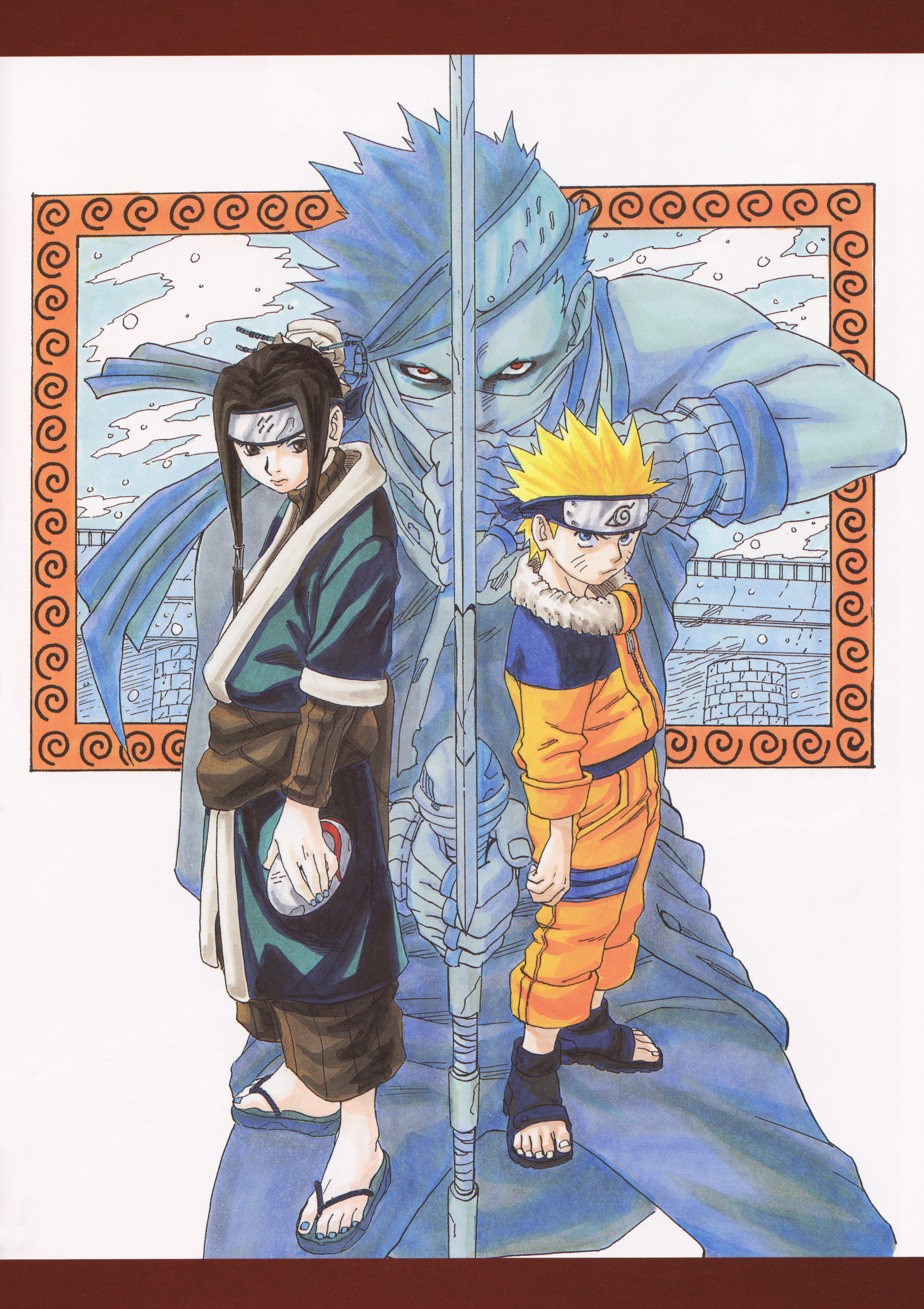 Zabuza in the Background with Naruto and Haku Up-front