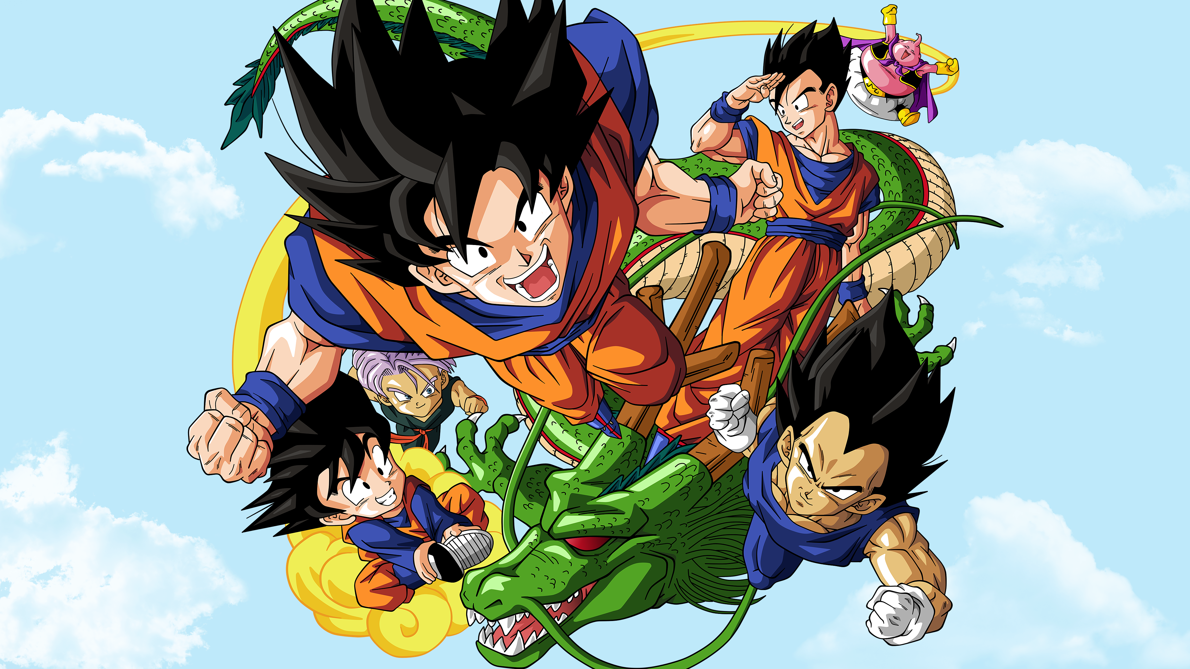 Goku, Gohan, Goten, Vegeta, Trunks, Buu 4K Wallpaper