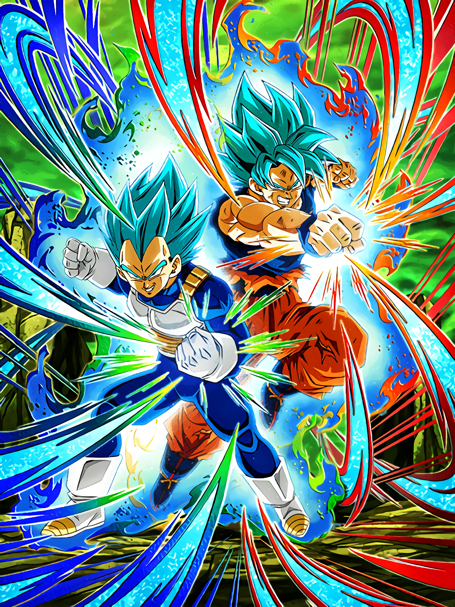 Two Powers Beyong Limits Super Saiyan God SS Goku & Super Saiyan God SS Vegeta Art (Dragon Ball Z Dokkan Battle).jpg