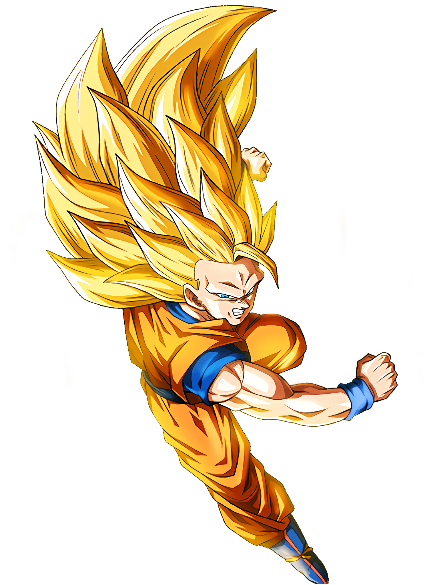 Clutching Victory Super Saiyan 3 Goku Render (Dragon Ball Z Dokkan Battle) .png
