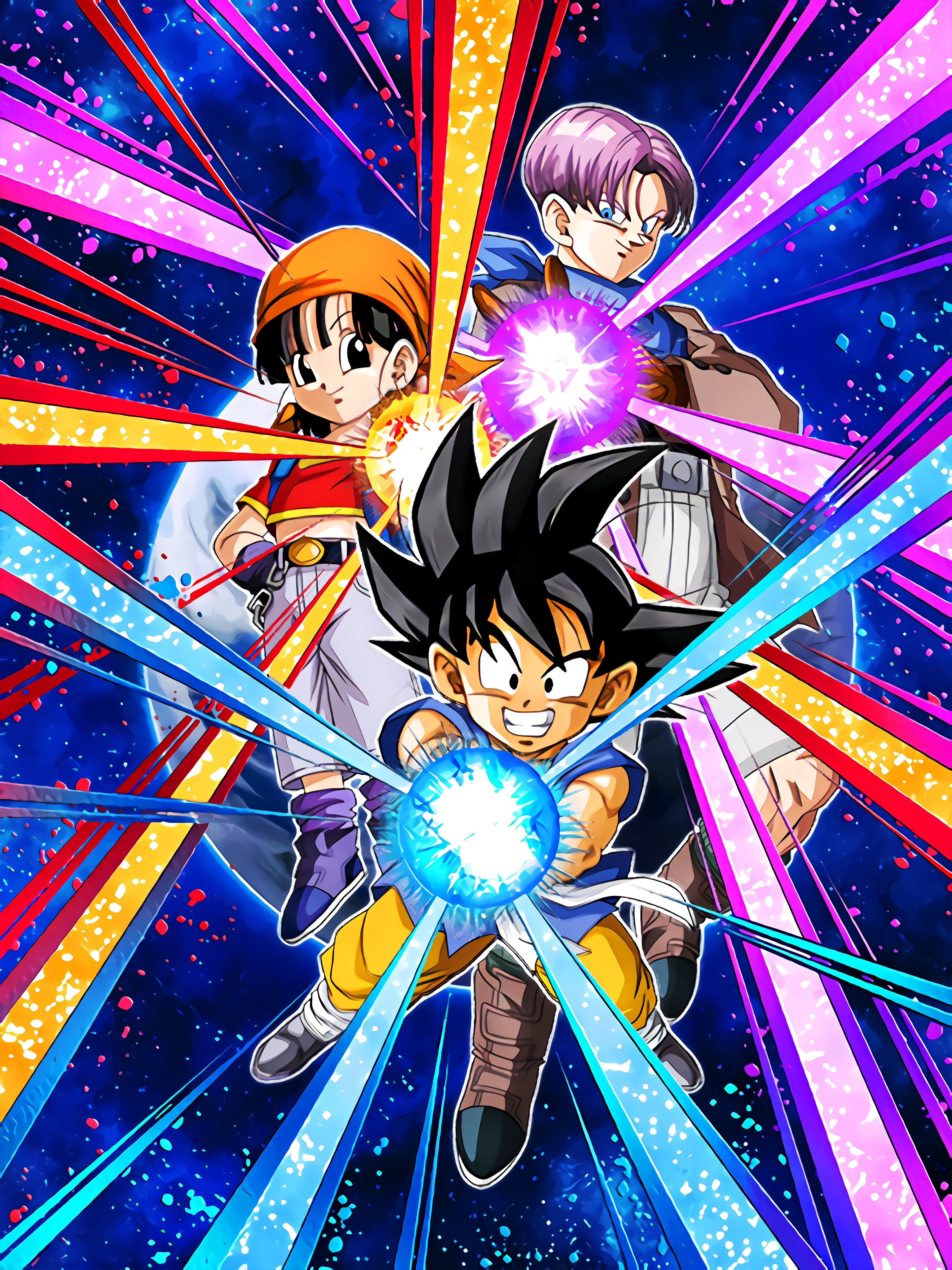 Great Fight with Strange Stars Goku, Pan, Trunks Art (Dragon Ball Z Dokkan Battle).jpg