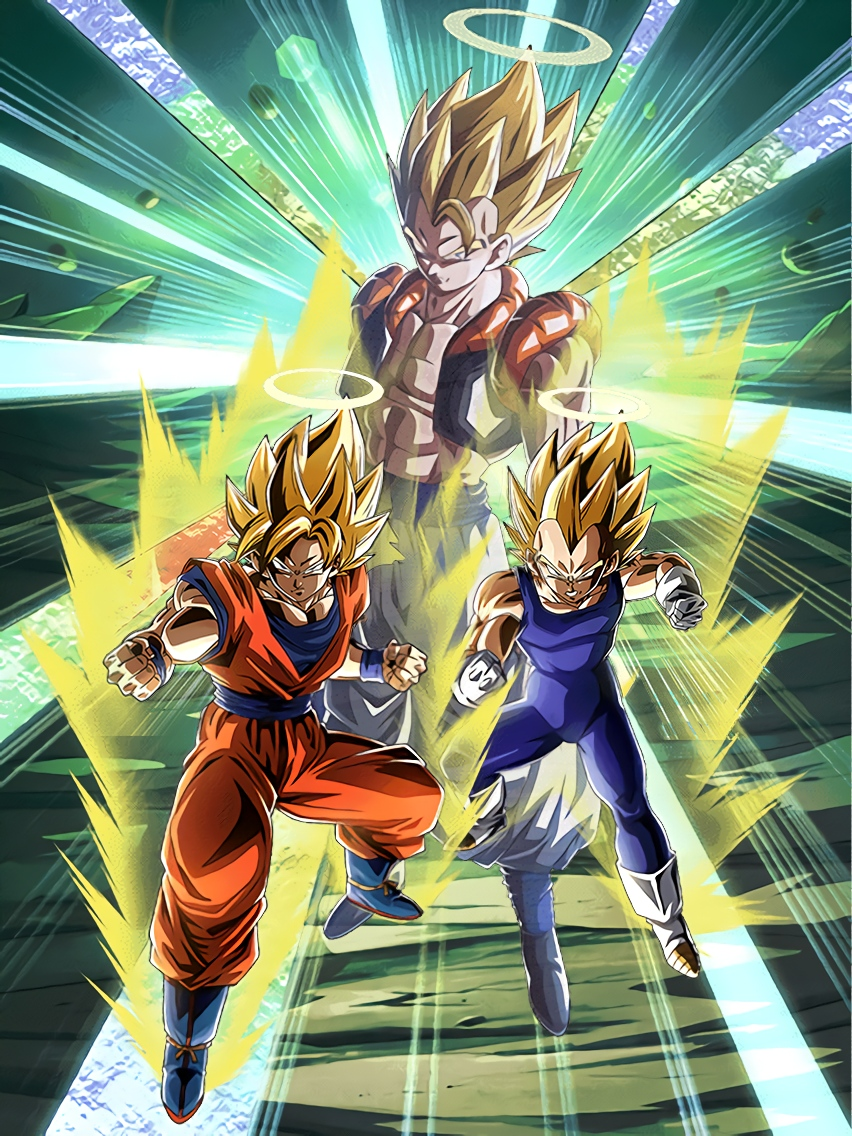 Eternal Rivalry Super Saiyan Goku Angel & Super Saiyan Vegeta Angel Art (Dragon Ball Z Dokkan Battle)