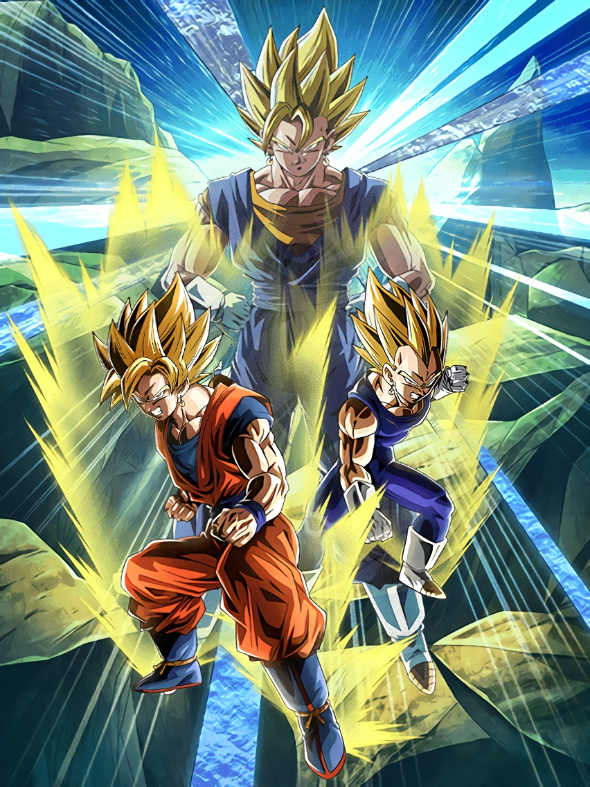 Super Powered Fusion Super Saiyan Goku & Super Saiyan Vegeta  Art (Dragon Ball Z Dokkan Battle)