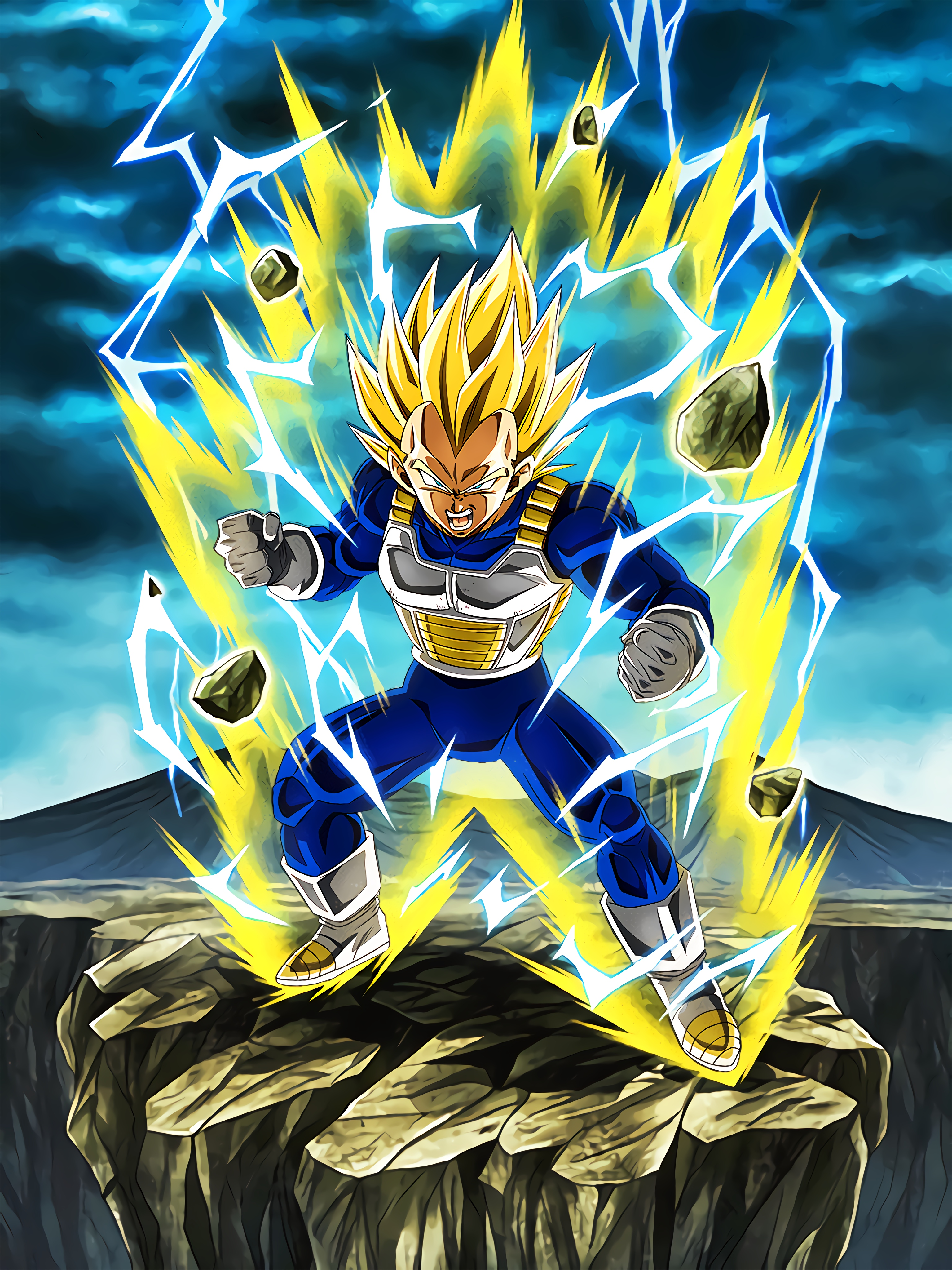 Limitless Combat Power Super Saiyan 2 Vegeta Art (Dragon Ball Z Dokkan Battle).jpg