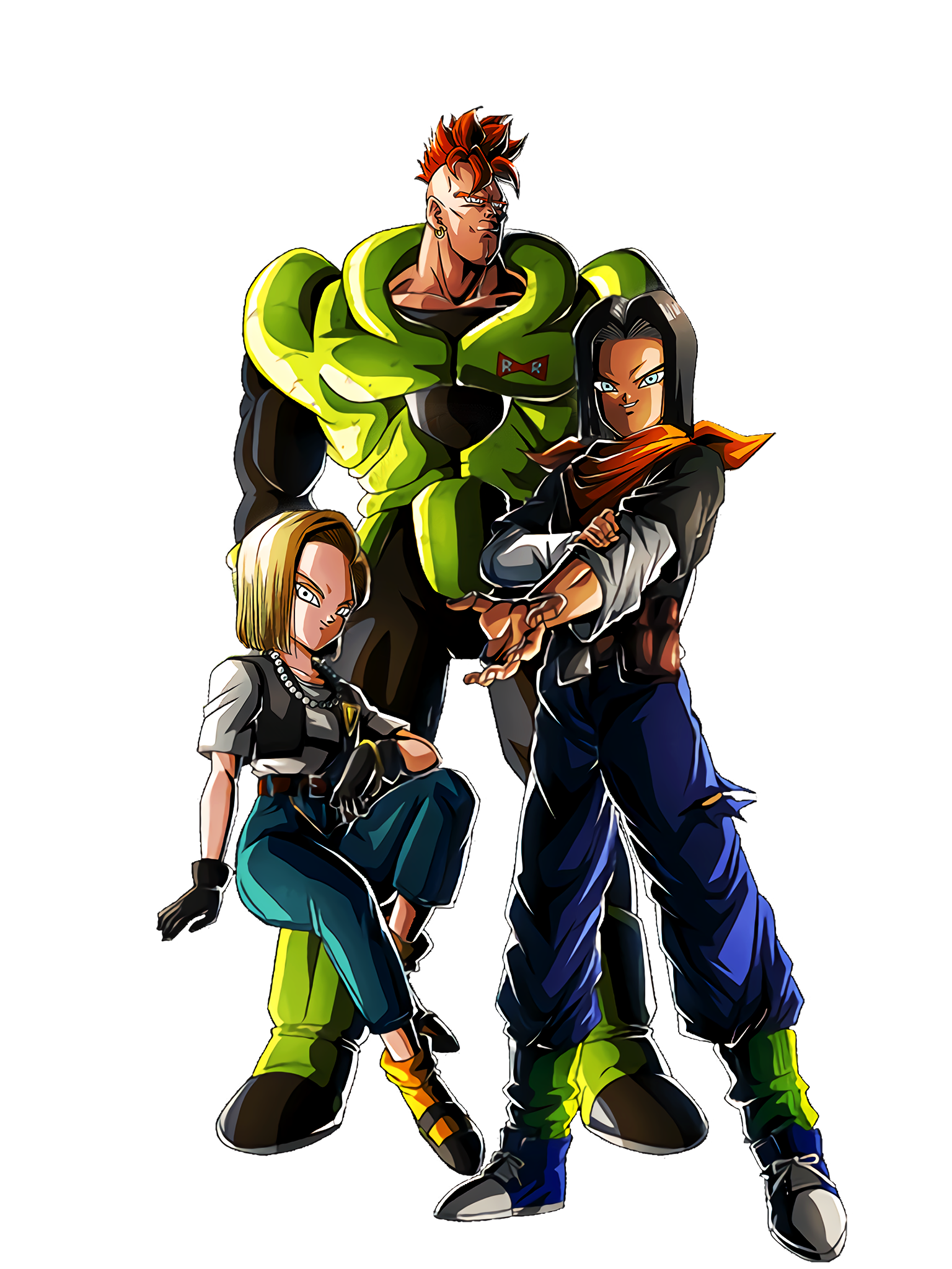 The Androids' Journey Androids 17 & 18 Android 16 Render (Dragon Ball Z Dokkan Battle) .png