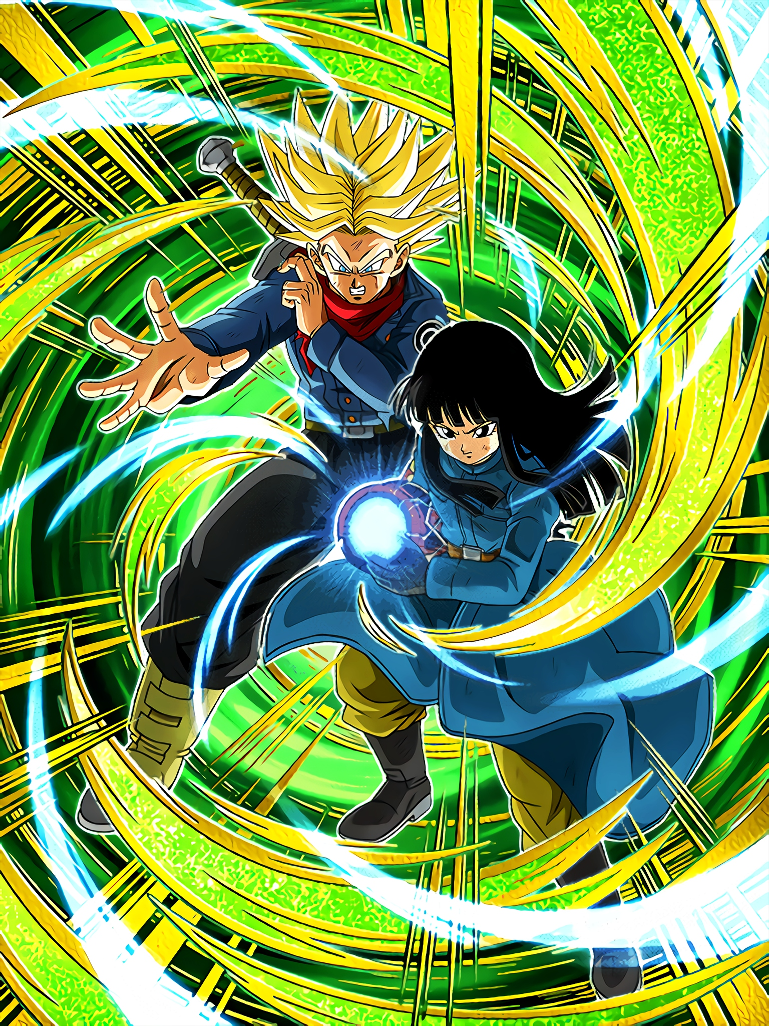 Human Pride Super Saiyan Trunks Future & Mai Future Art (Dragon Ball Z Dokkan Battle).jpg