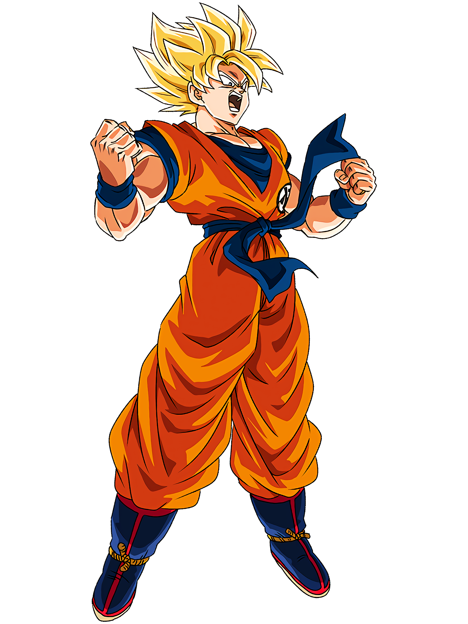 Struggle to Heat Up Super Saiyan Goku Render (Dragon Ball Z Dokkan Battle) .png