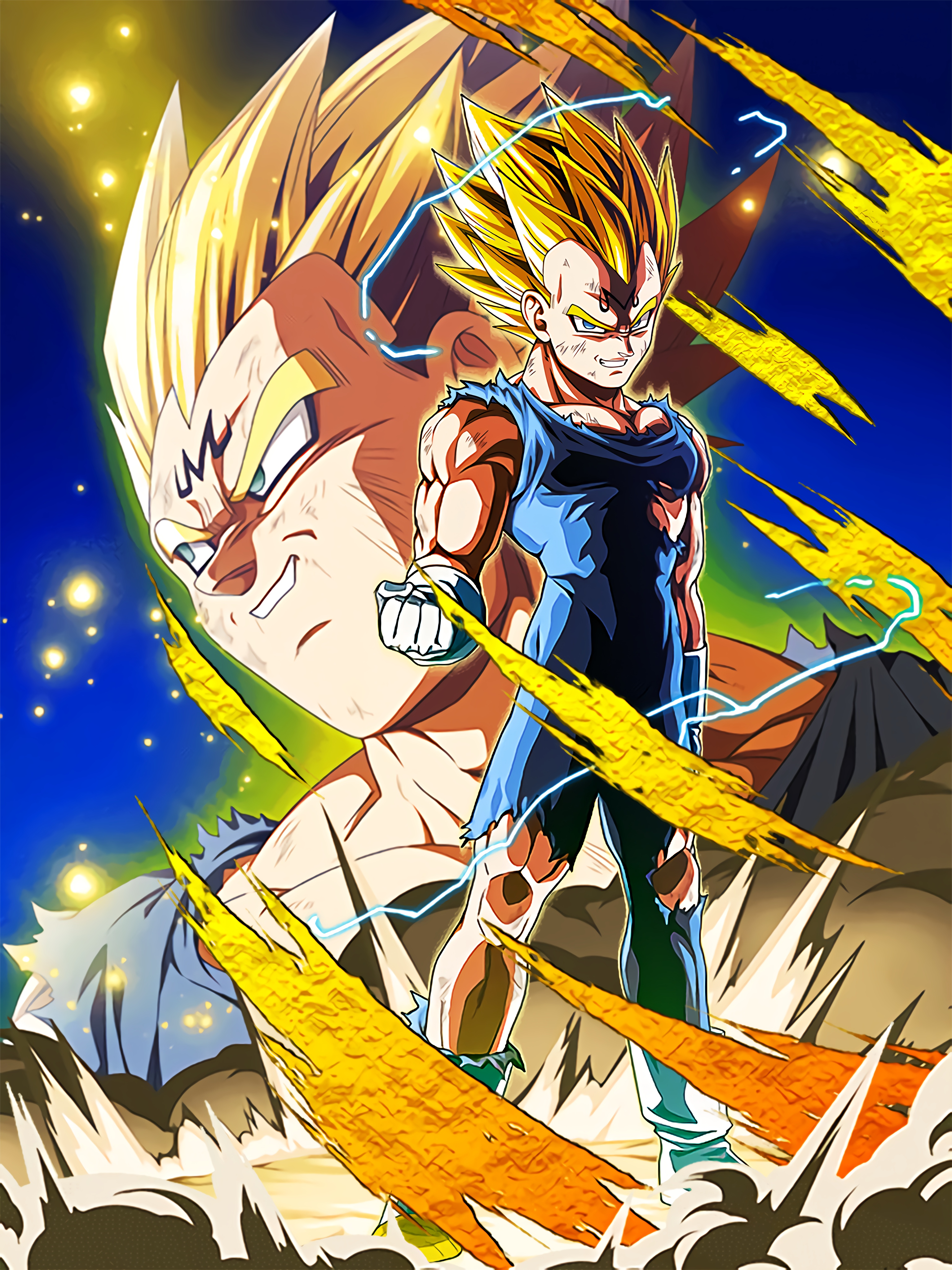 Beyond the Ferocious Flash Majin Vegeta Art (Dragon Ball Z Dokkan Battle)