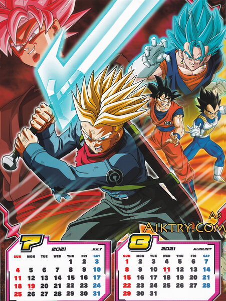 07-08 SSR Goku Black vs Future Trunks, Vegito Blue (Dragon Ball Super 2021 Calendar)