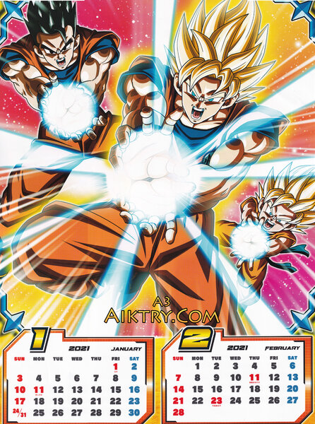 01-02 Ultimate Gohan, SSJ Goku, Goten Triple Kamehameha (Dragon Ball Super 2021 Calendar)