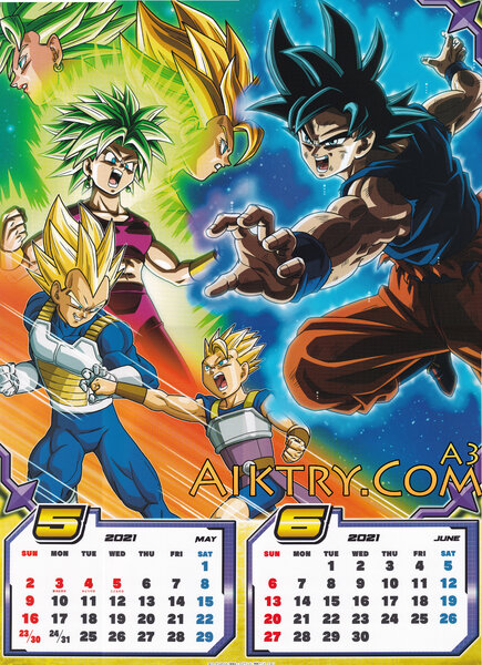 05-06 Ul Sign Goku vs Kefla, SSJ Vegeta vs Cabba (Dragon Ball Super 2021 Calendar)
