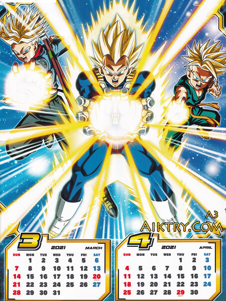 03-04 SSJ Future Trunks, Vegeta, Kid Trunks (Dragon Ball Super 2021 Calendar)