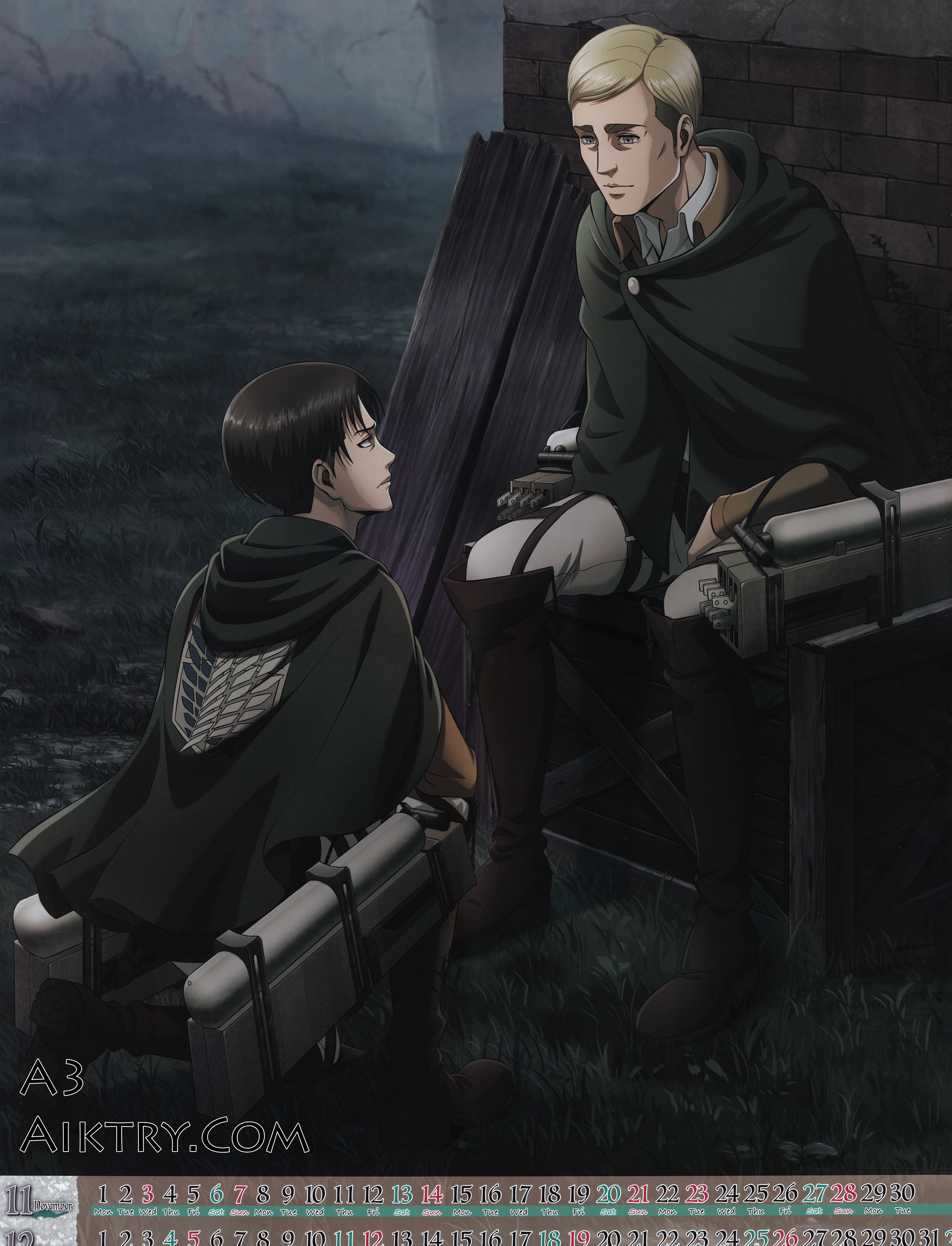 11-12 Levi Takes a Knee in Front of Erwin (Attack on Titan 2021 Calendar)